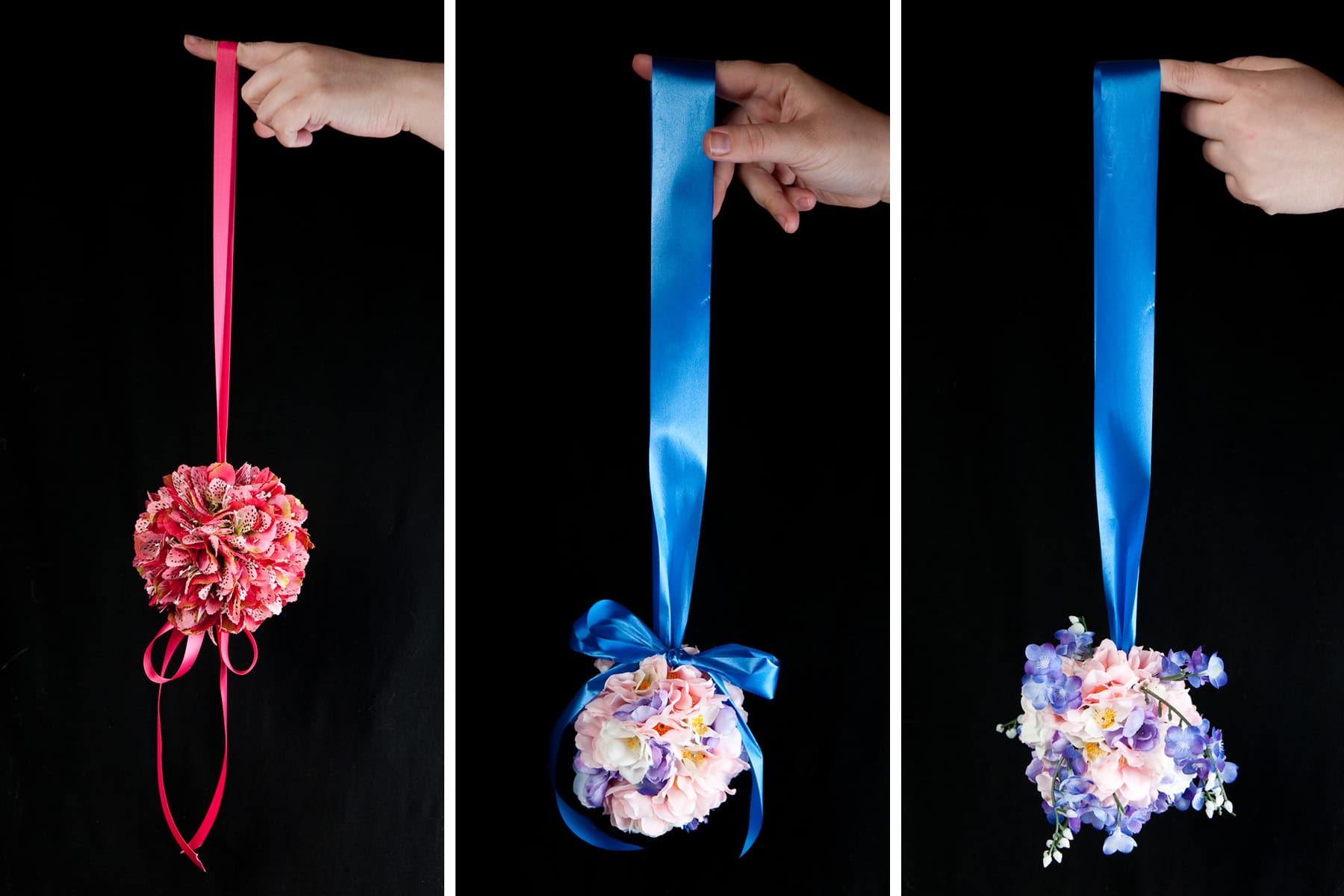3 different silk flower pomanders in a row.