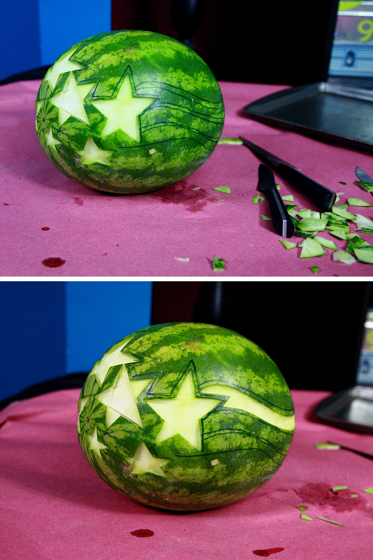 A two part image showing stars and stripes being carved out of the watermelon rind.