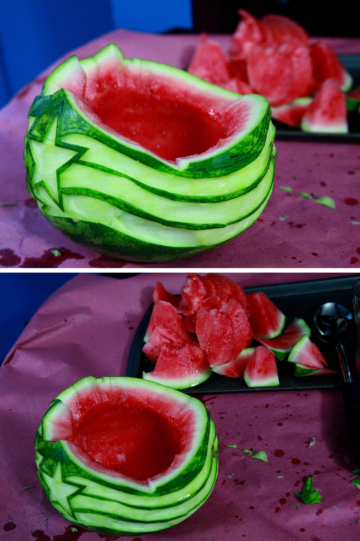A two part image showing the center of the watermelon being hollowed out.