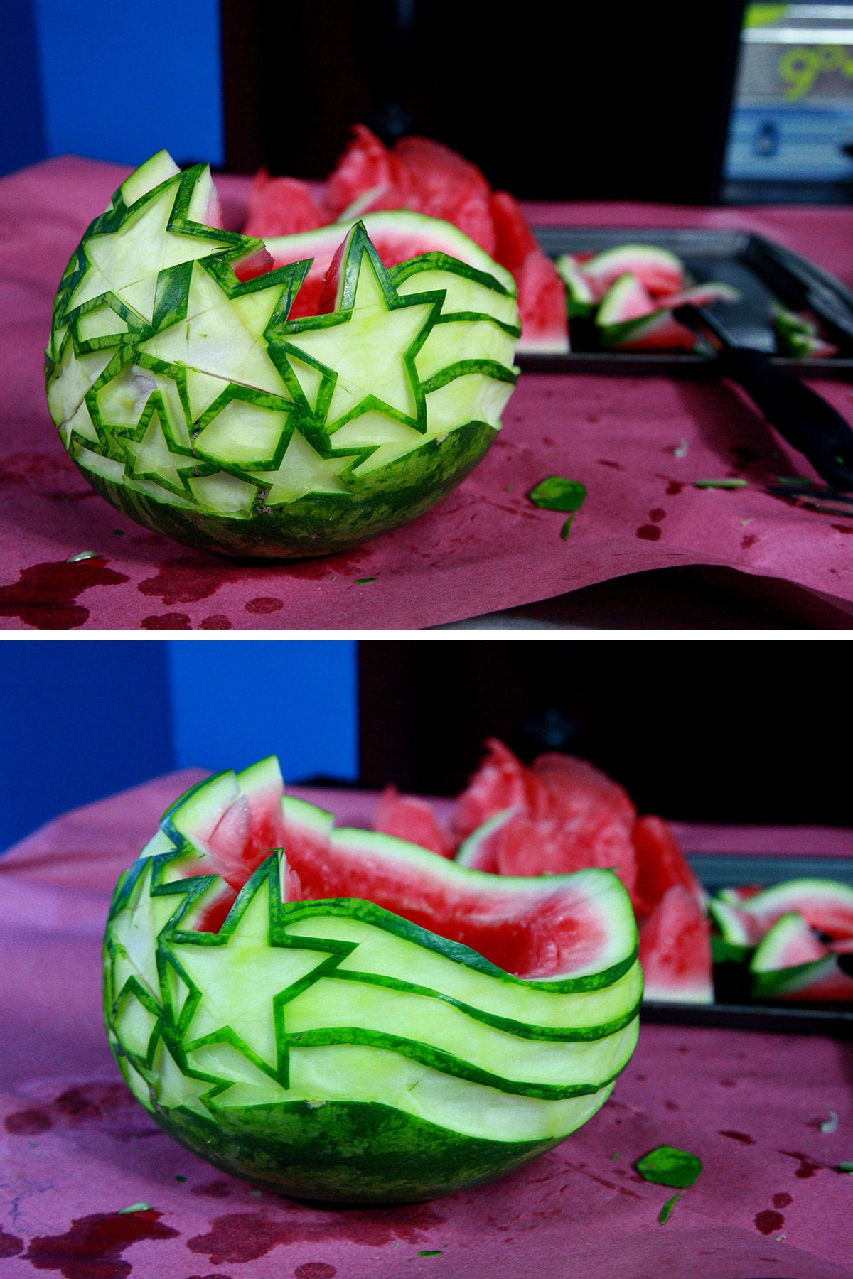 A two part image showing the watermelon with the top edge cut to shape.