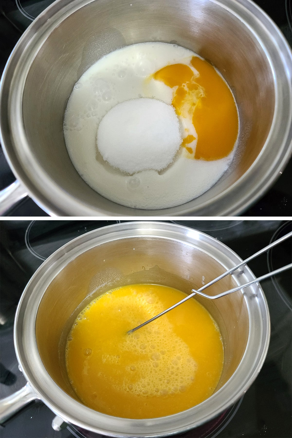 Coconut milk, sugar, and mango being mixed in a small pot.
