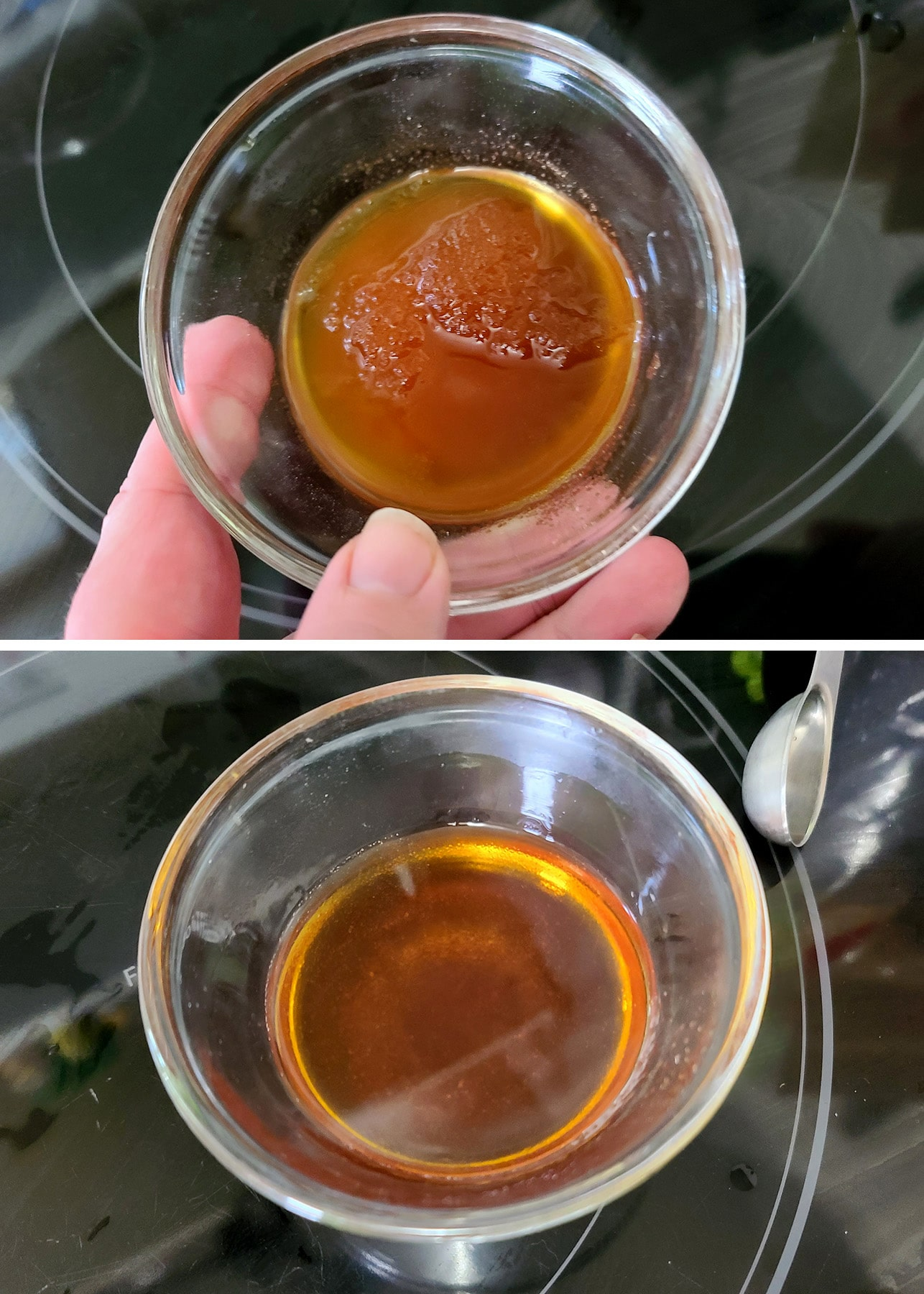 The gelatinized rum, before and after melting it.