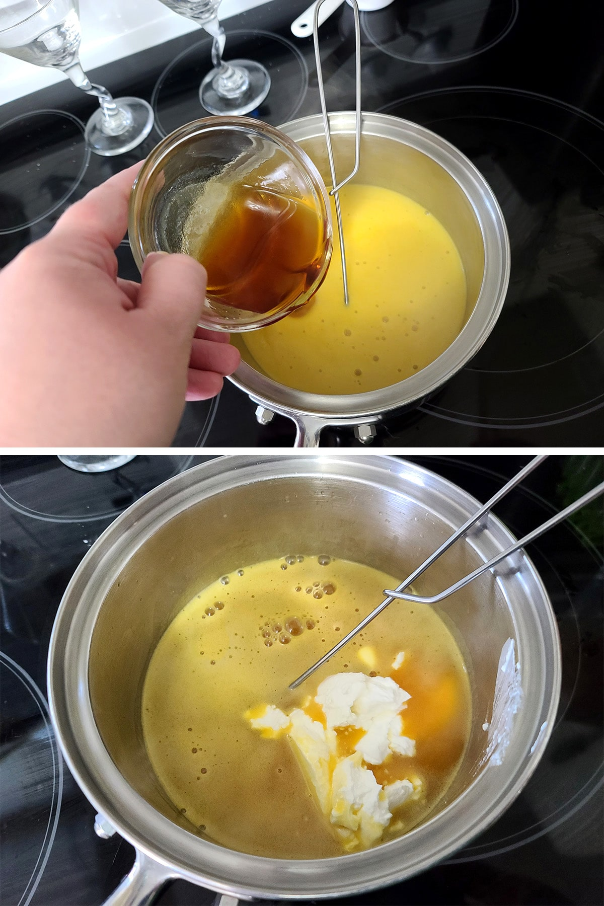 Rum and sour cream being added to the pot of mango mixture.