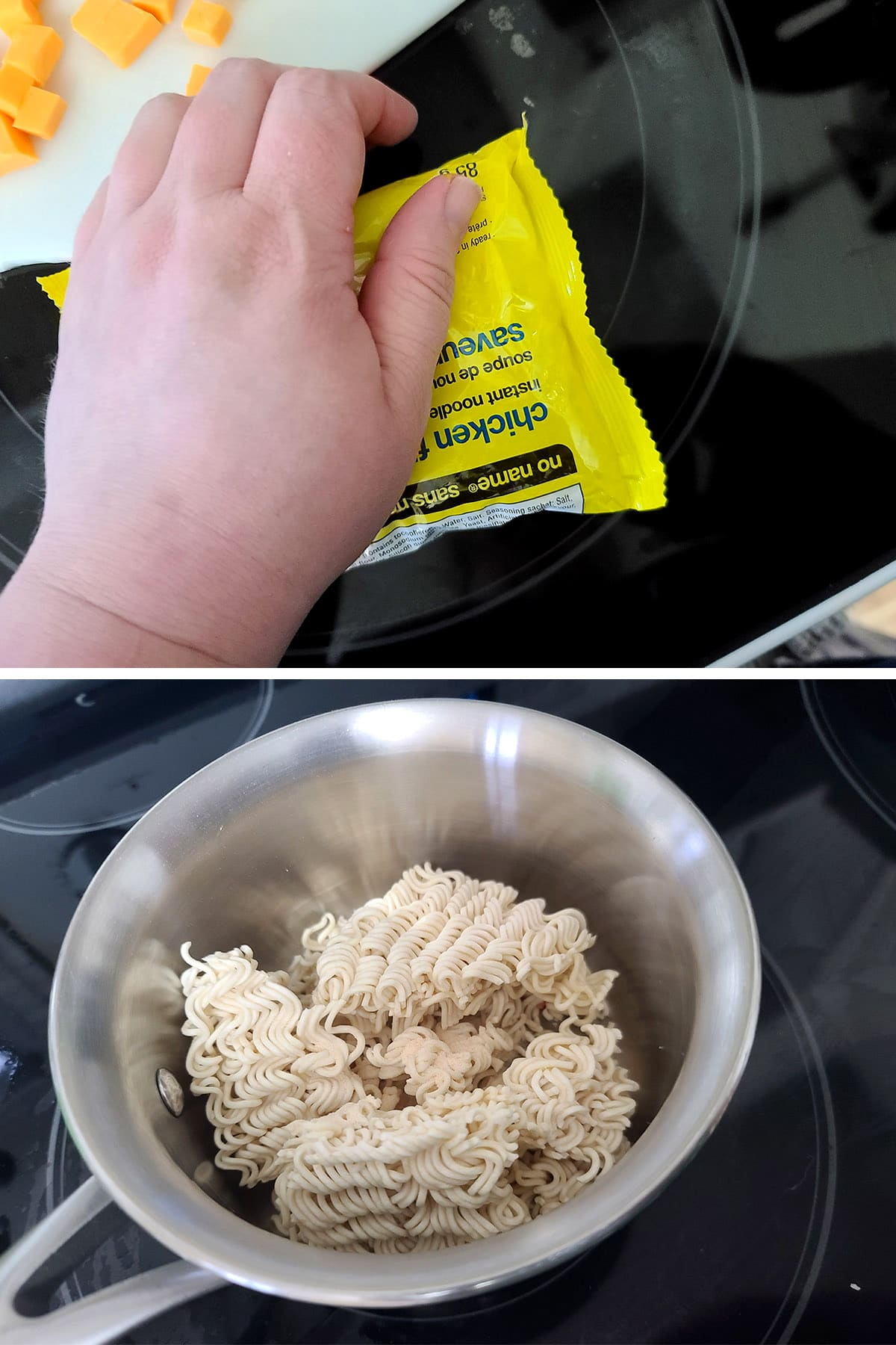 A hand crushes a bag of ramen and puts it in a pot.