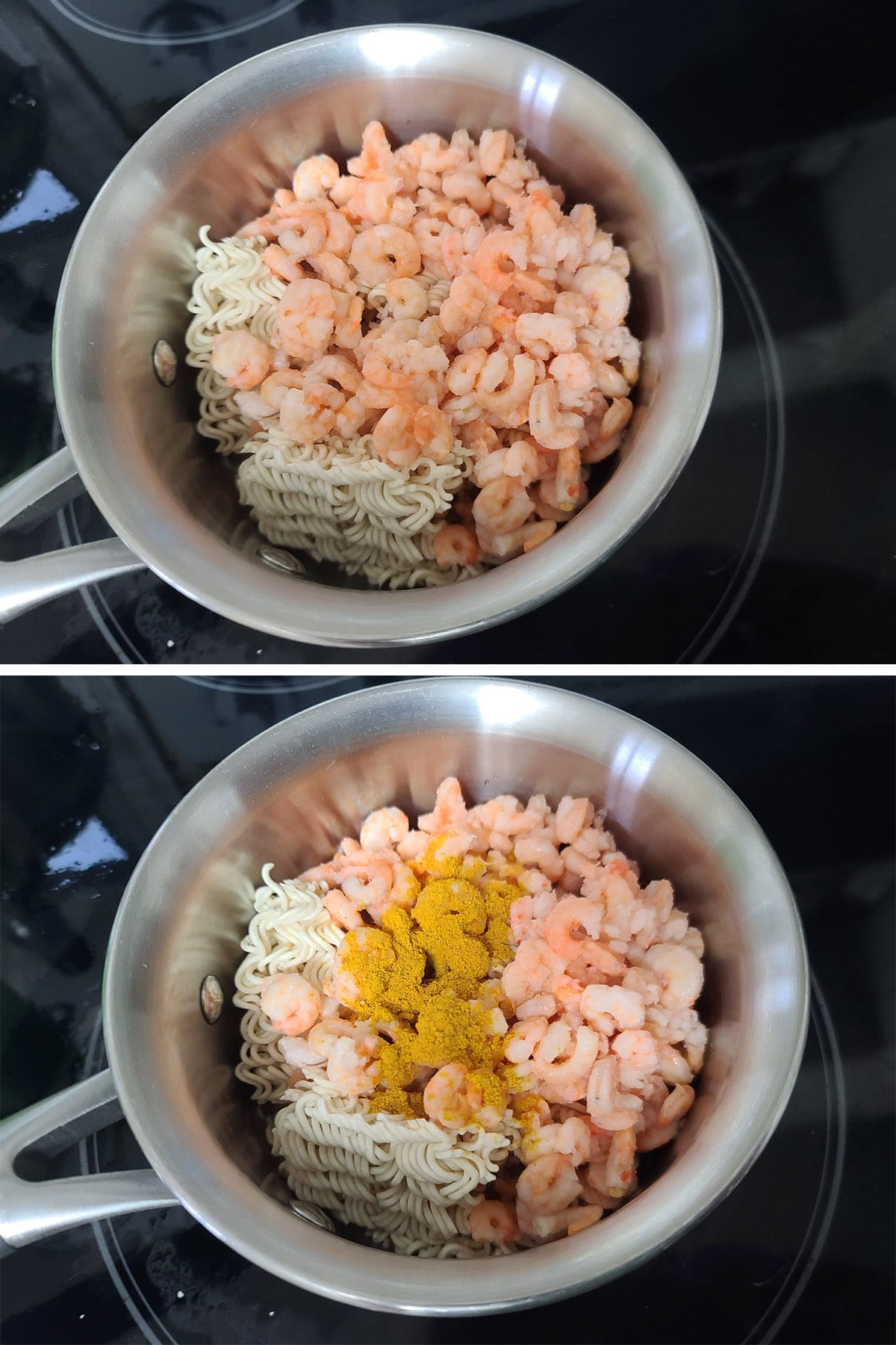 Shrimp, flavouring powder, and curry are added to the pot.