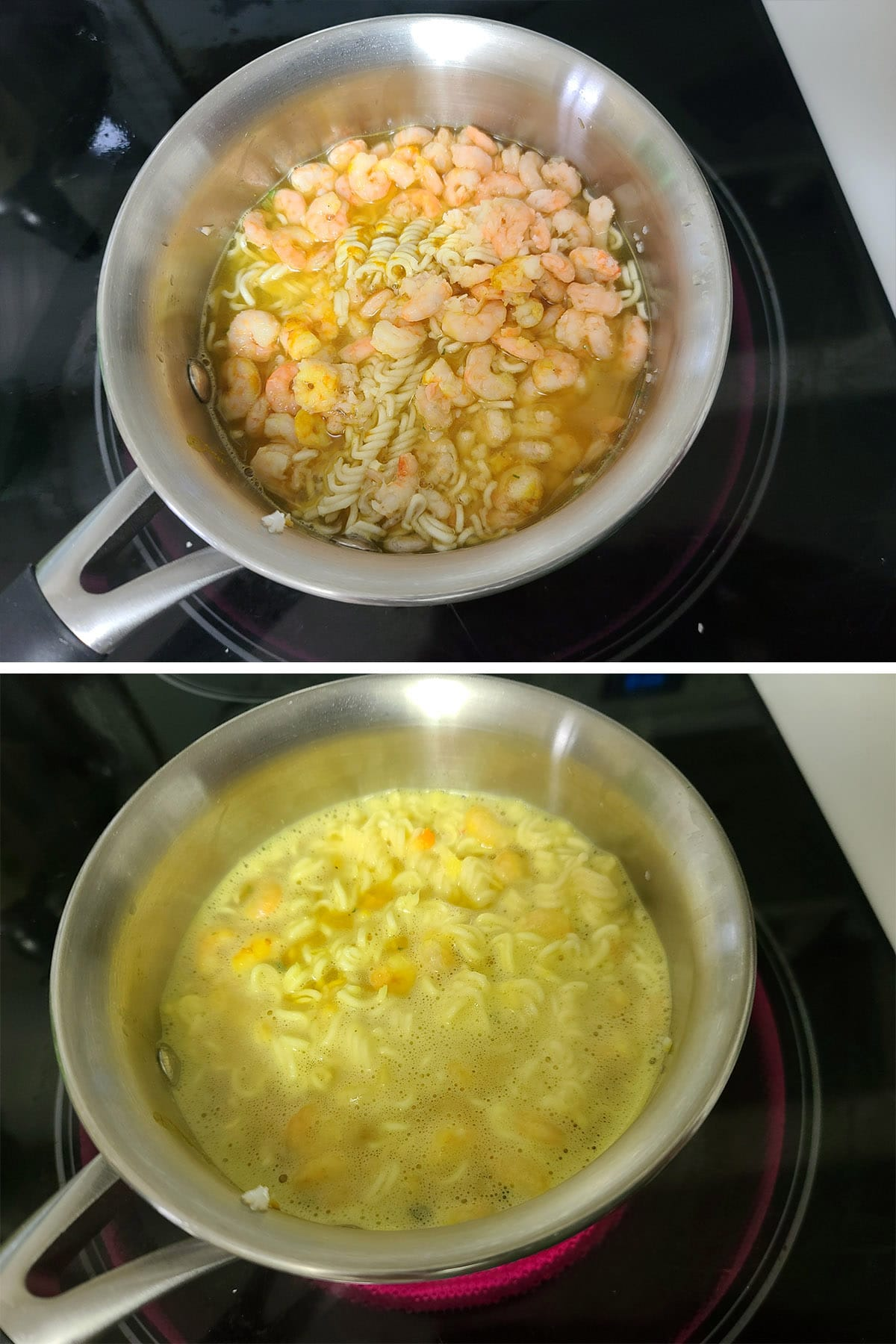 A small amount of water is added to the pot, and simmered.