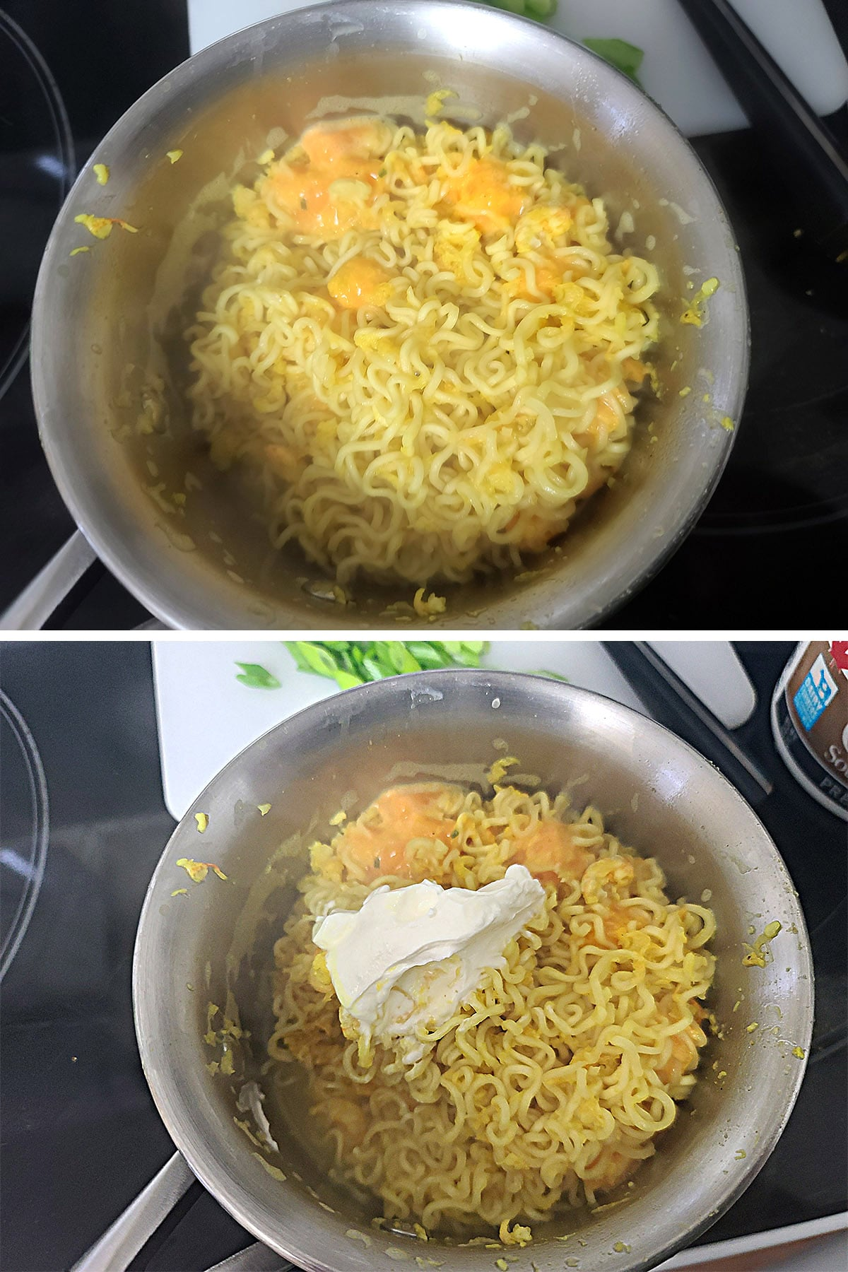 Sour cream is added to the strained noodles.