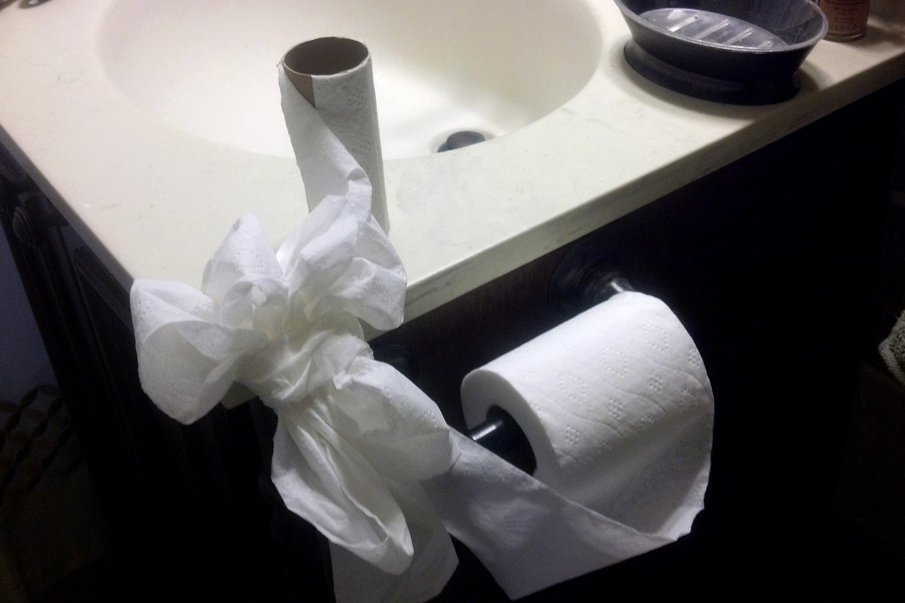 A toilet paper roll tied to an empty roll.