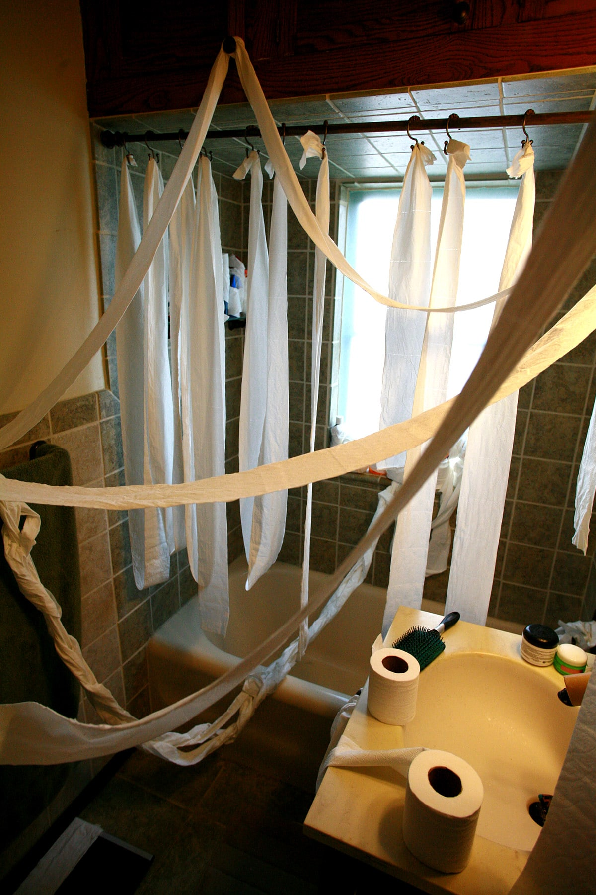 Many strands of toilet paper draped over the bathrom vanity and shower.