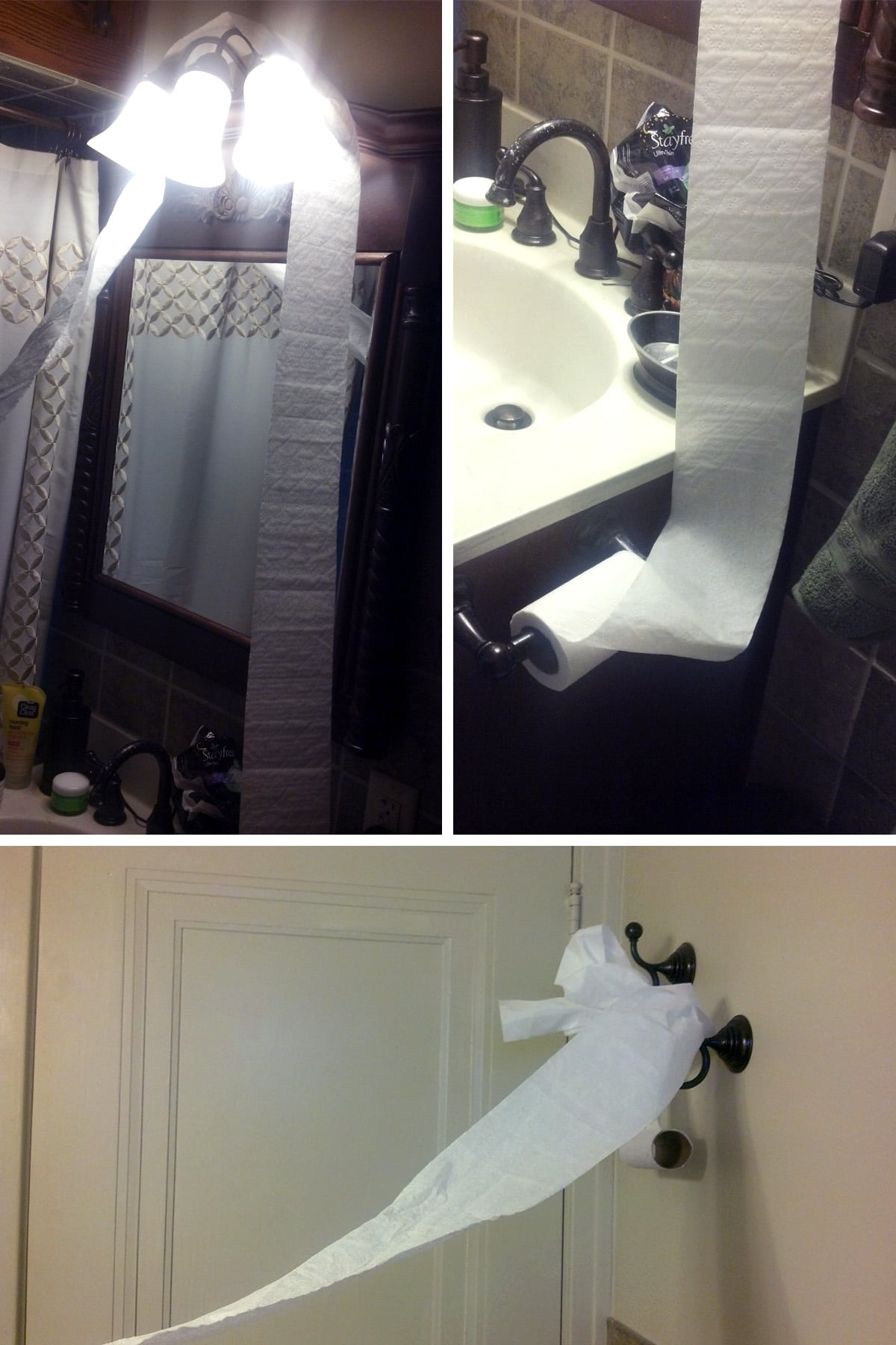 A compilarion image of 3 shots of toilet paper draped around the washroom.