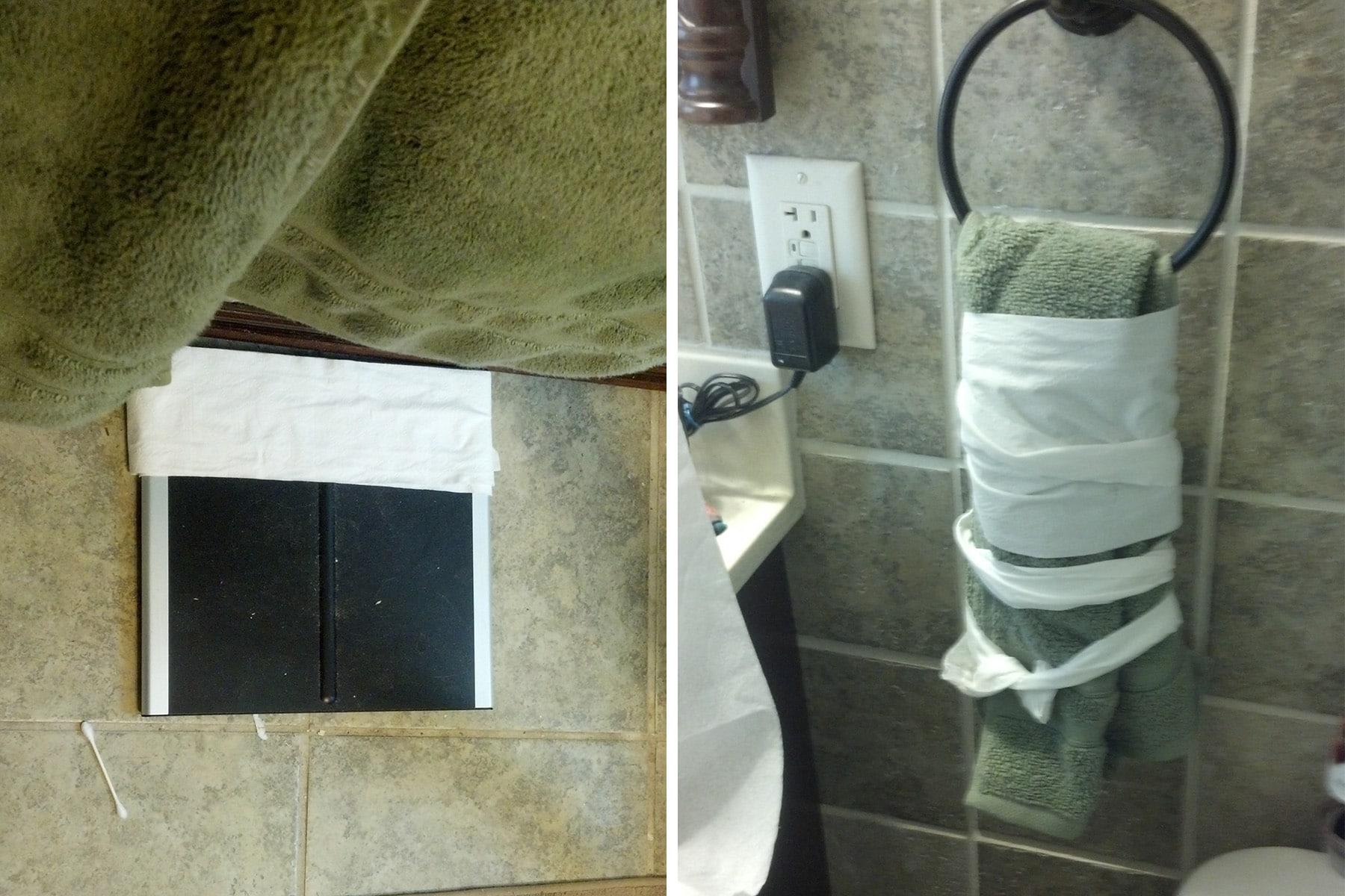 A scale, hand towel, and more... wrapped in TP.