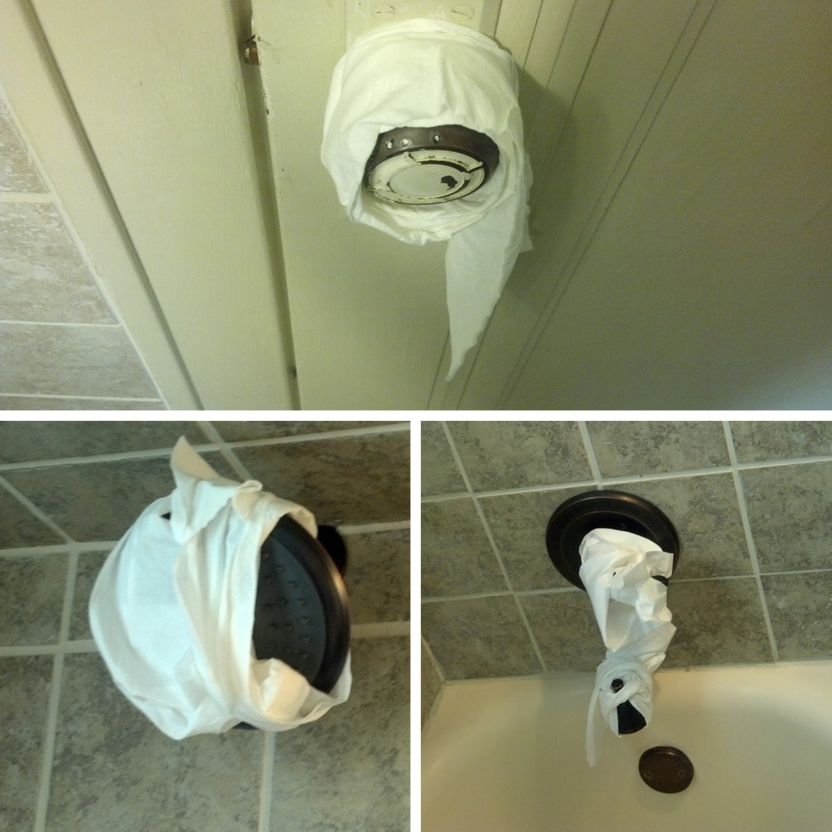 The tub faucet and handles wrapped in toilet tissue.