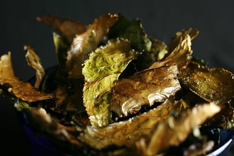 Roasted Beet Greens Chips