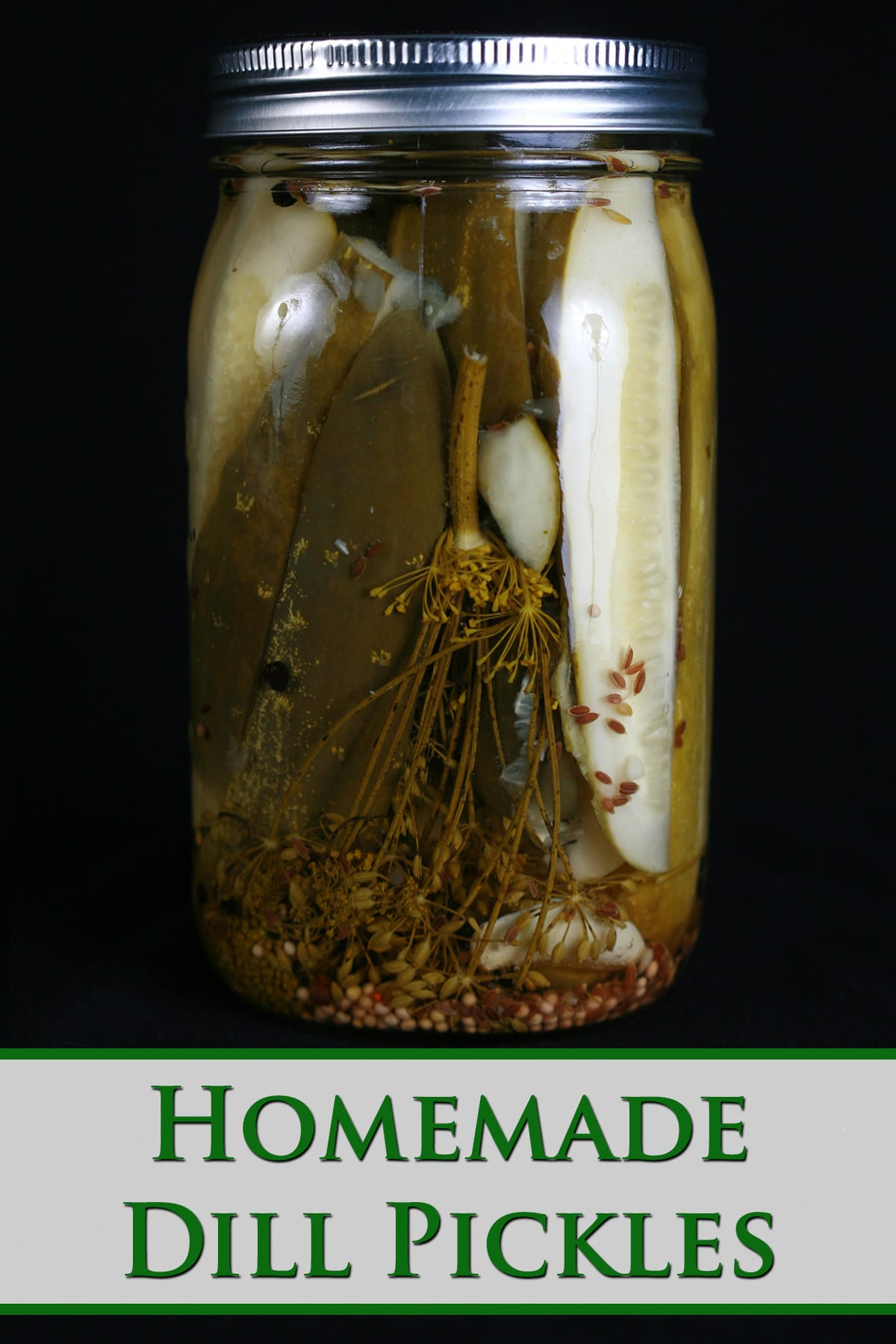 A jar of homemade dill pickles.