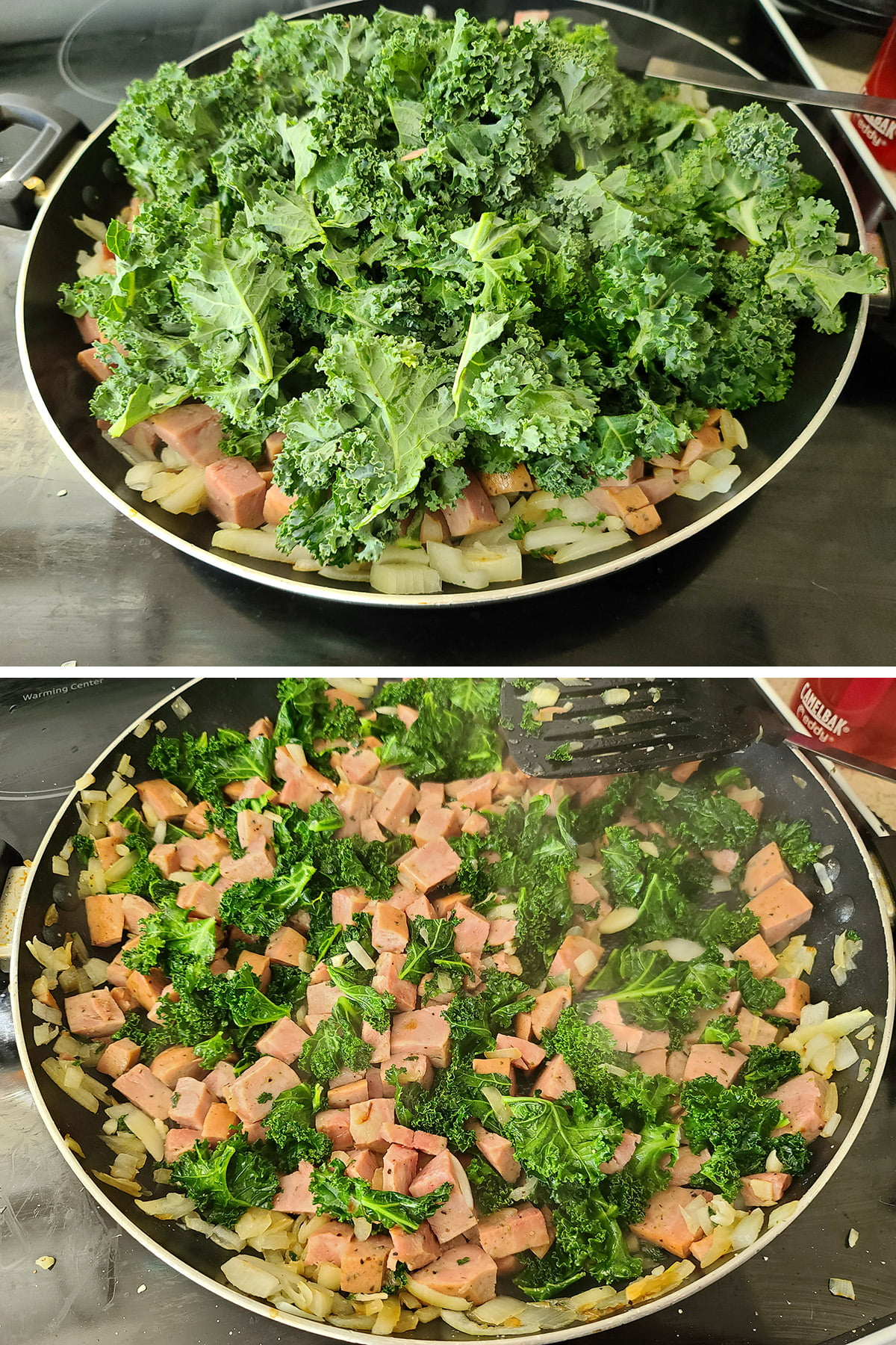 A two part compilation image showing a large pile of kale being added to a pan, and that piled cooked down.