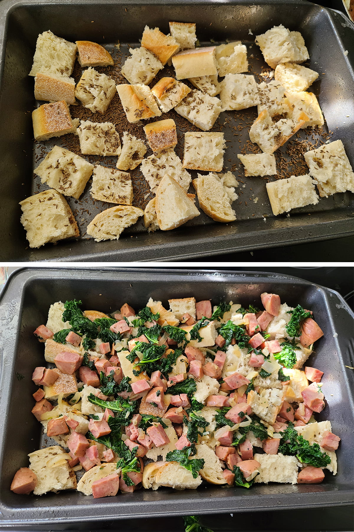 A two part compilation image showing bread cubes in a pan, and then those cubes covered with the kale and meat mixture.