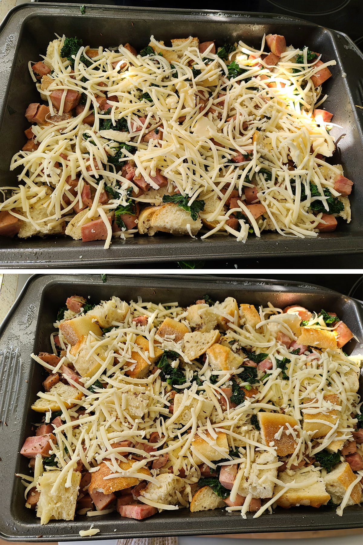 A two part compilation image showing the meat and kale mixture covered with cheese, and then topped with another set of bread, ham, kale, and cheese layers.