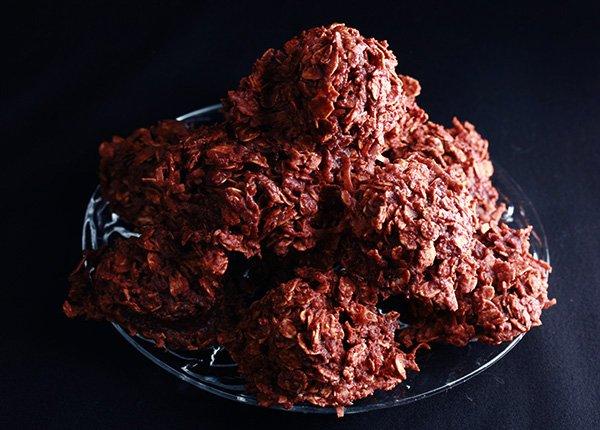 Boozy Chocolate Haystack Cookies