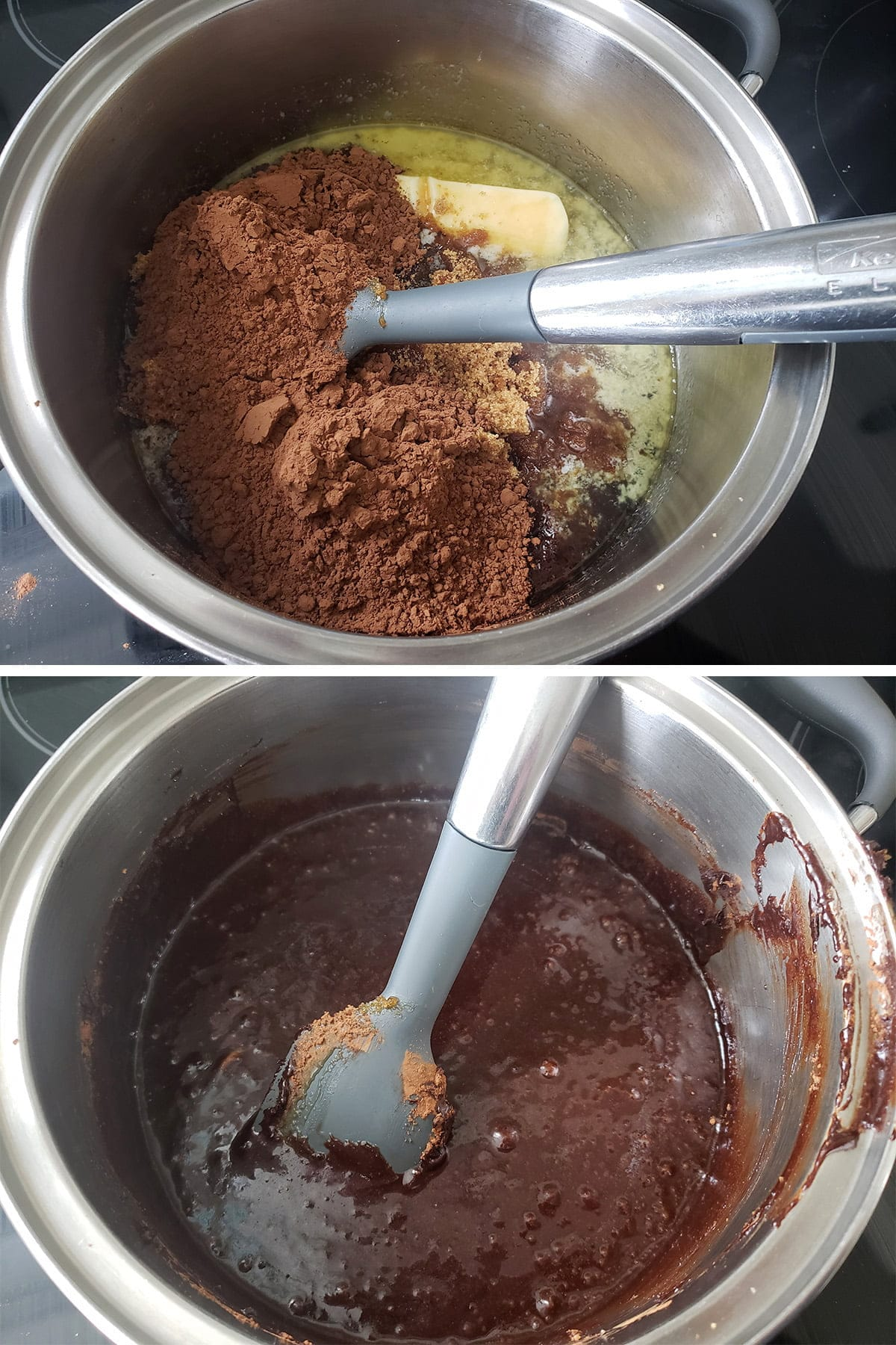 A two part compilation image showing the butter, syrup and cocoa being mixed in a pot, and that mixture being cooked together.
