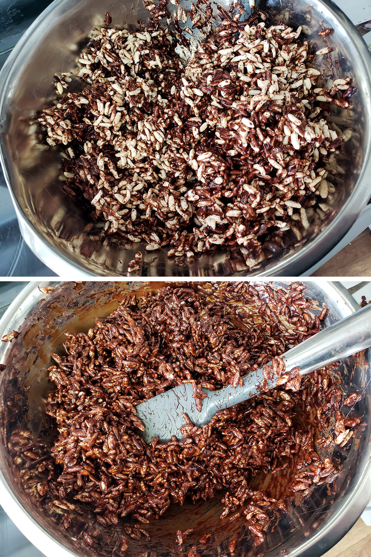 A two part compilation image showing the chocolate caramel being stirred into the puffed wheat, both partially mixed, and fully coating it.