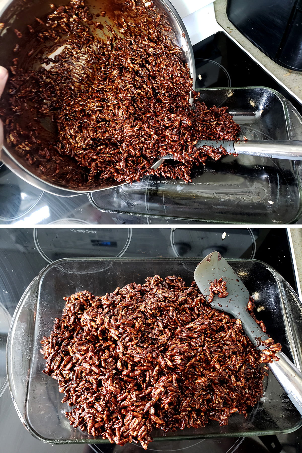 A two part image showing the puffed wheat mixture being dumped in the prepared pan, and being spread.