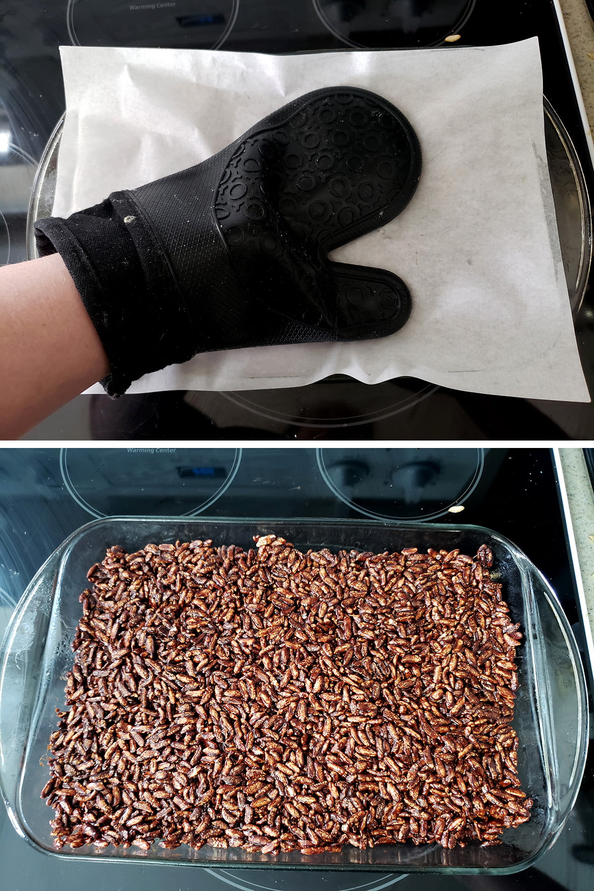 A two part image showing a hand in an oven mit pressing down on parchment paper, and the pressed pan of squares.