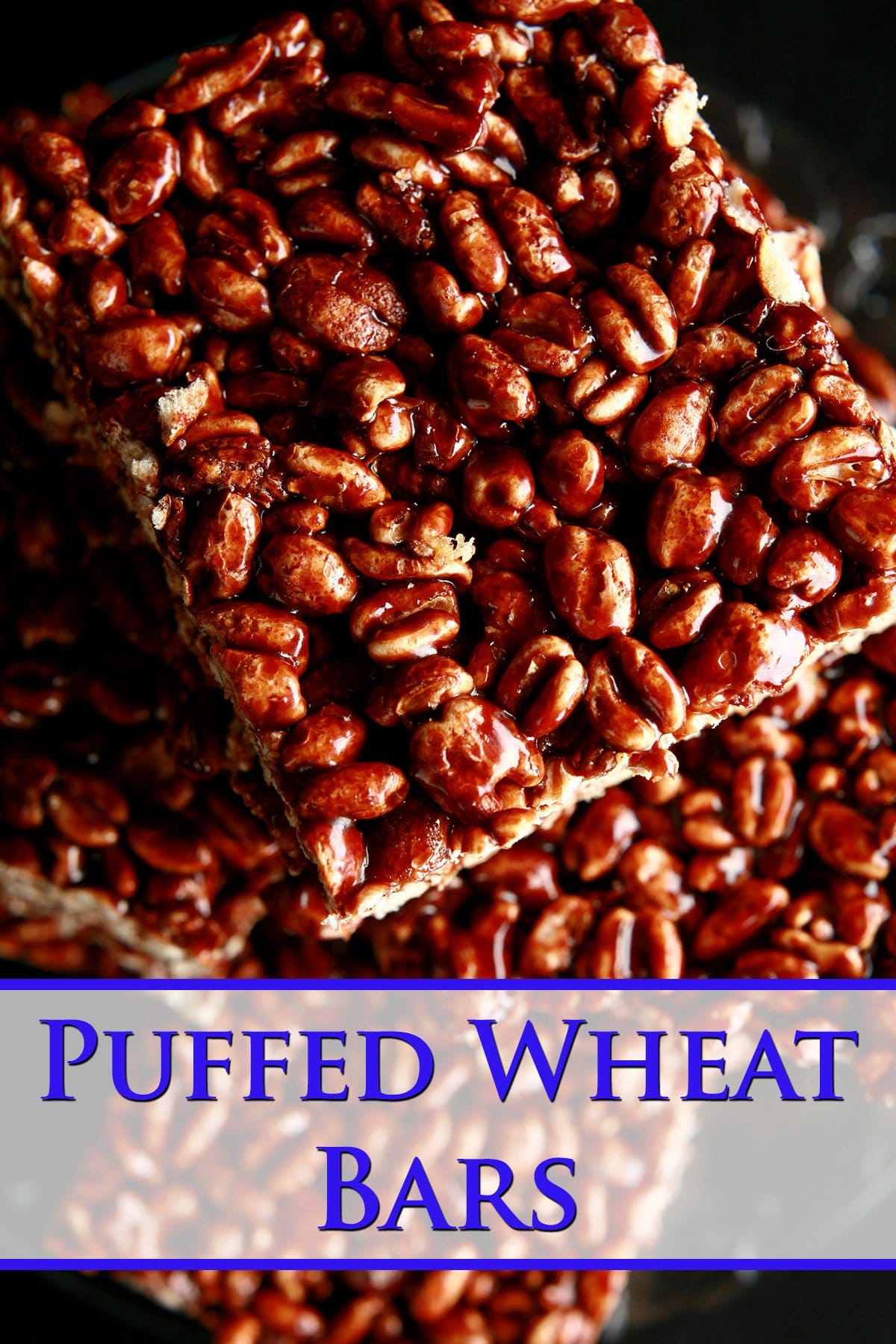 A small glass plate stacked with large pieces of puffed wheat squares.