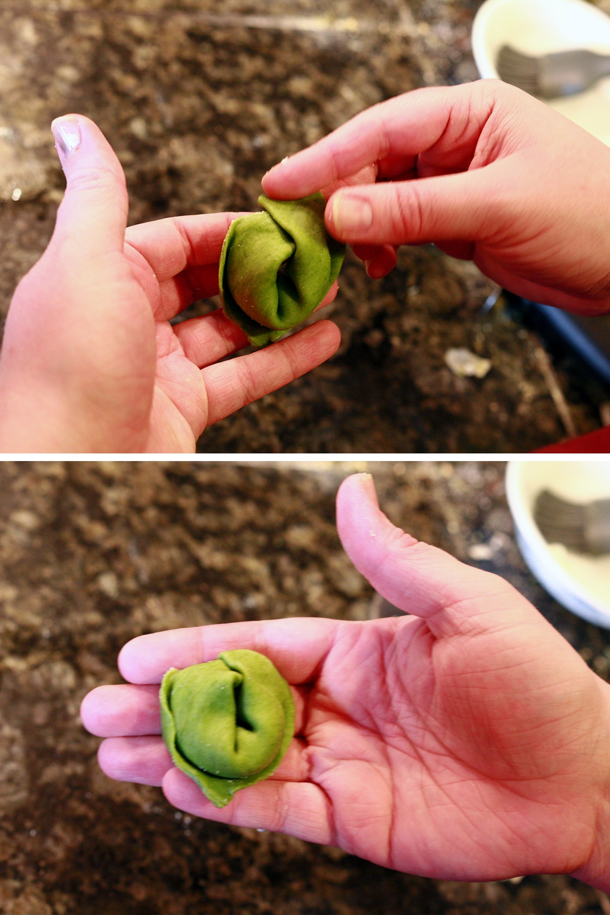 Two hands folding the tortellini as described in the text.