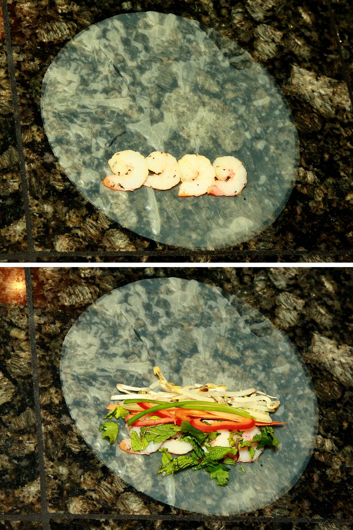 A two part compilation image. The top image shows shrimp lined up on a soaked rice wrapper. The bottom shows the shrimp topped with bean sprouts, red pepper, green onion, and carrot.