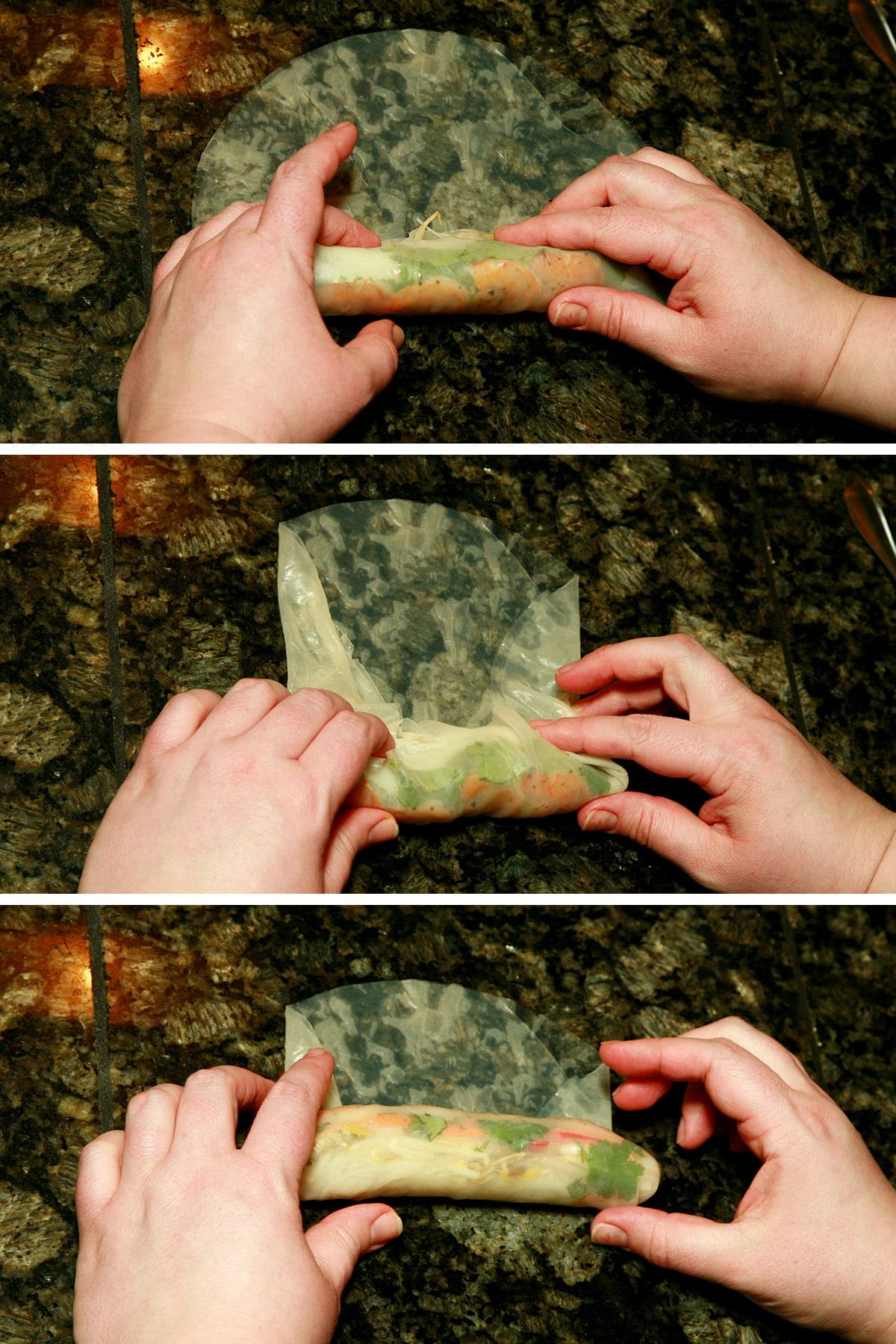 A three part compilation image showing the rolling of a spring roll.