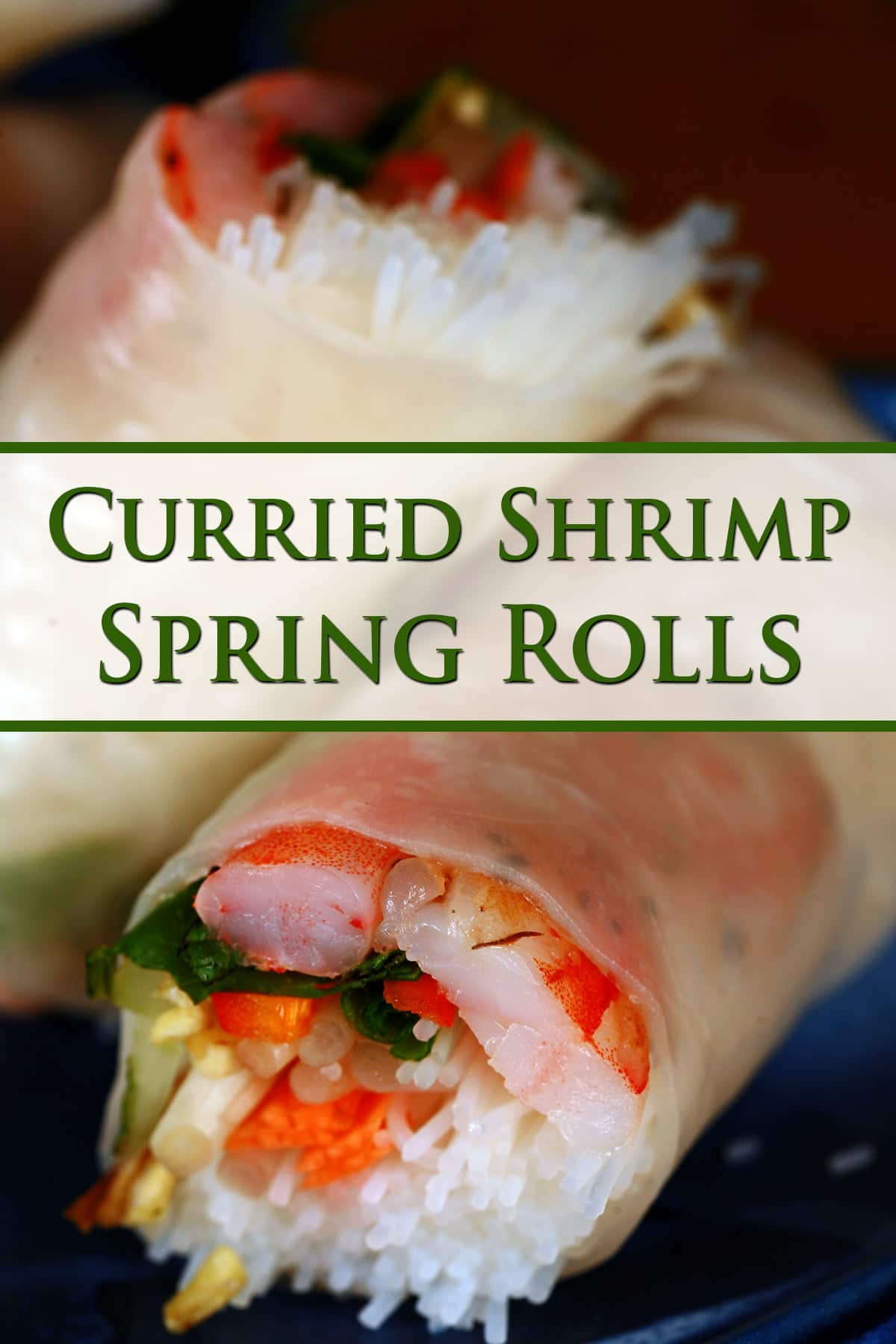 2 and a half curried shrimp spring rolls are arranged on a blue plate, with a small bowl of spicy peanut dip next to it.