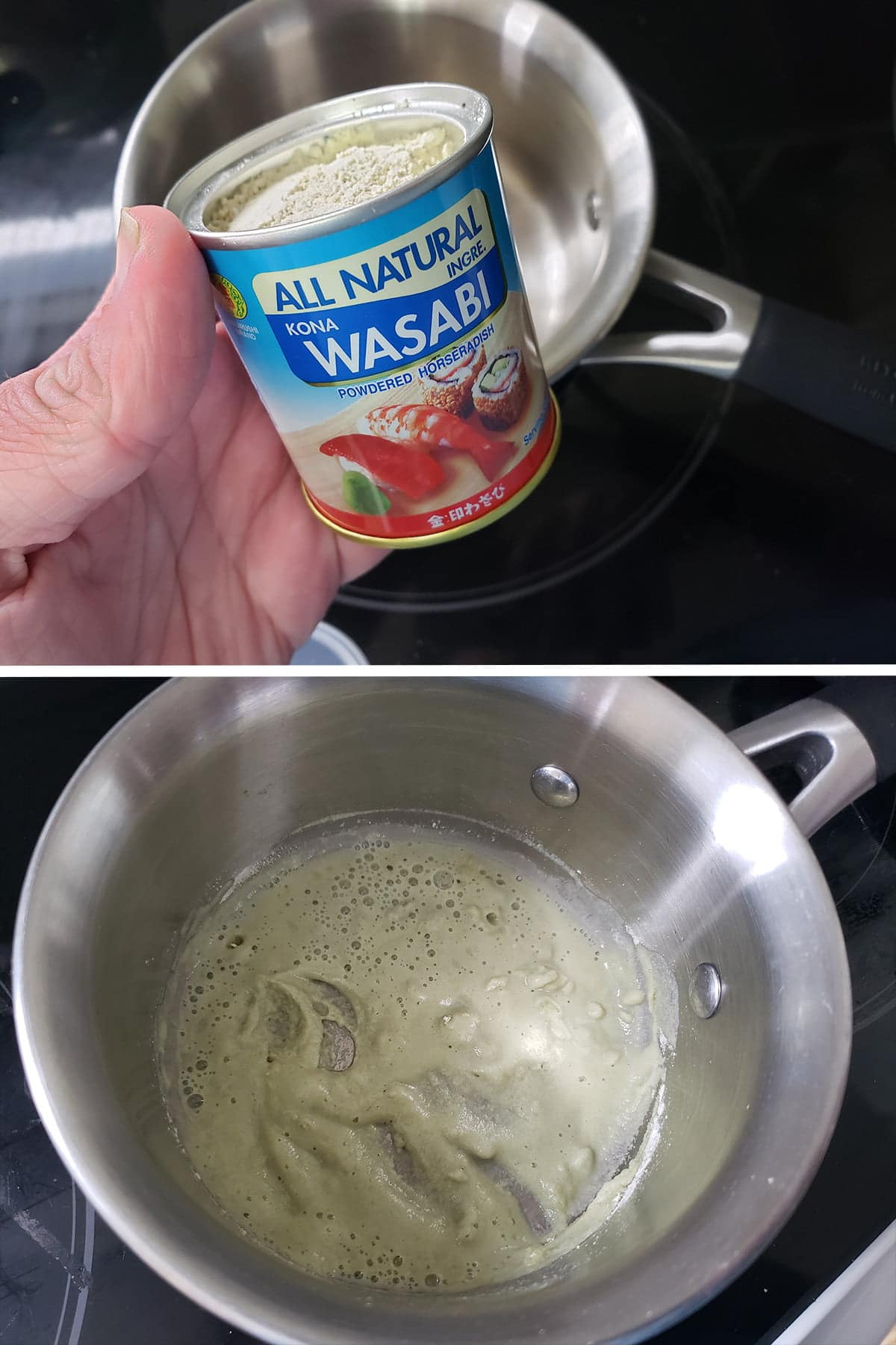 A two part compilation image showing a hand holding a canister of wasabi powder in the top image, and the powder having been mixed into a paste in the second image.
