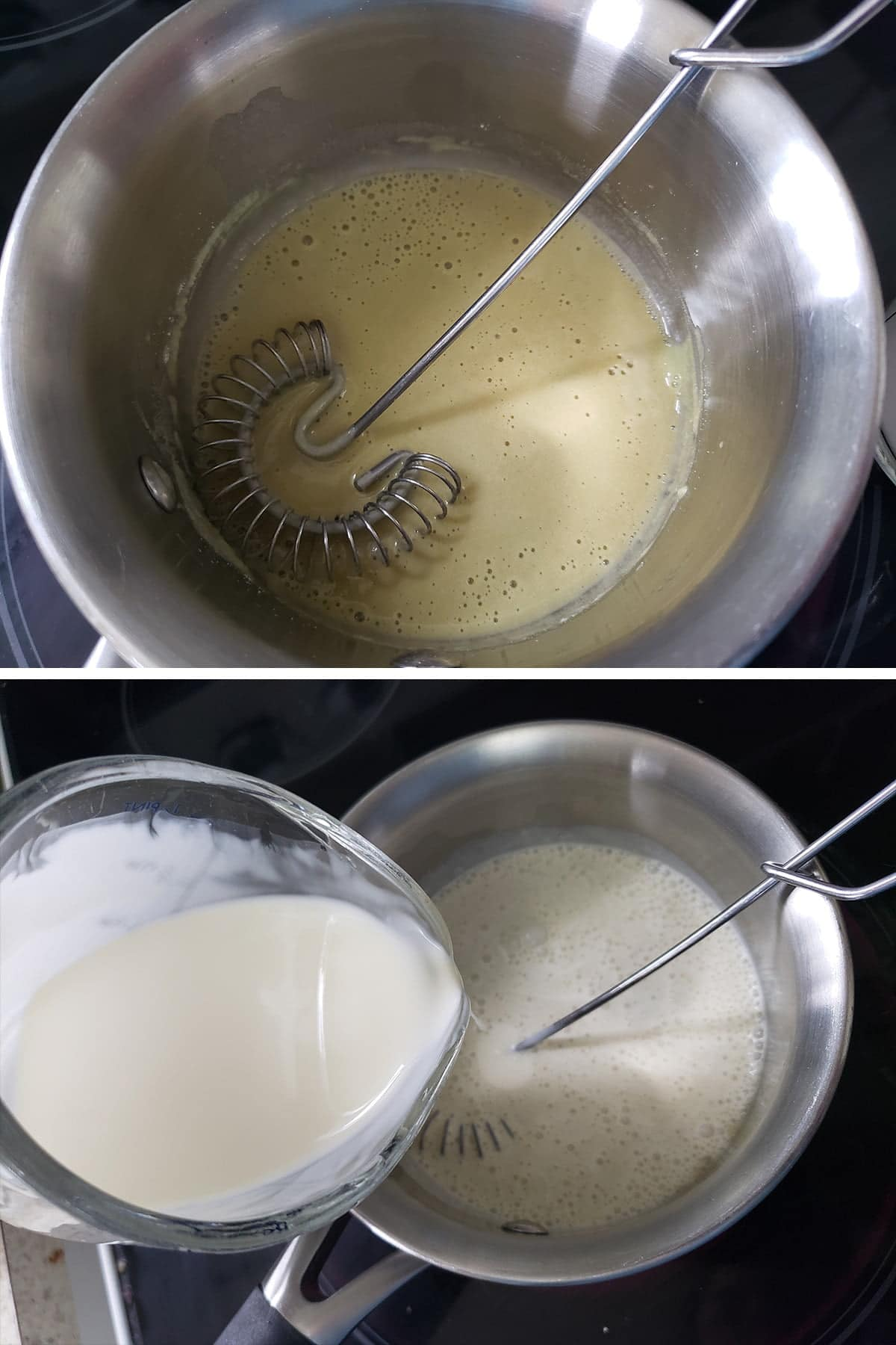 A two part compilation image showing the wasabit, vinegar, and soy sauce mixed together in the top image, and the heavy cream being added to the pot in the second image.
