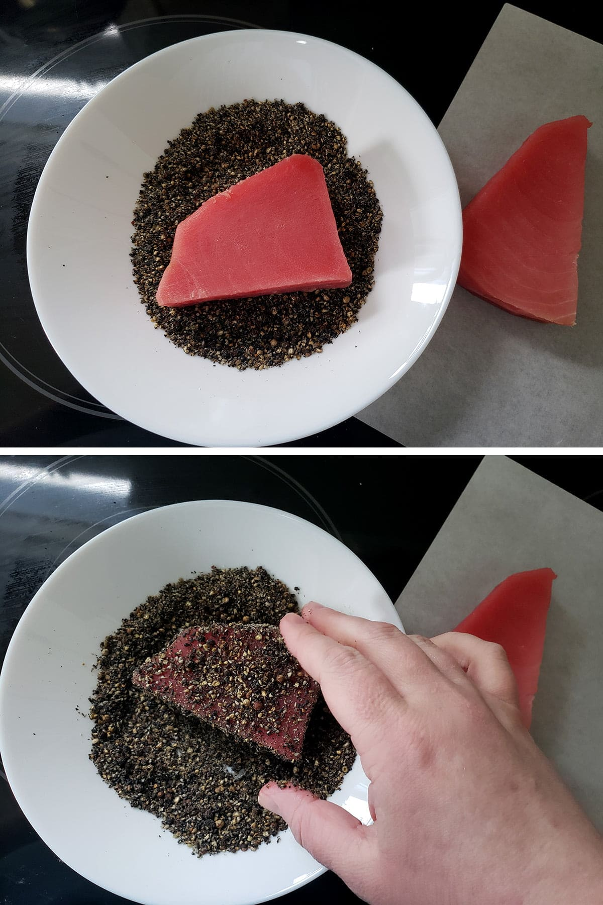 A two part compilation image showing a piece of tuna being coated in the pepper and sesame seed rub.