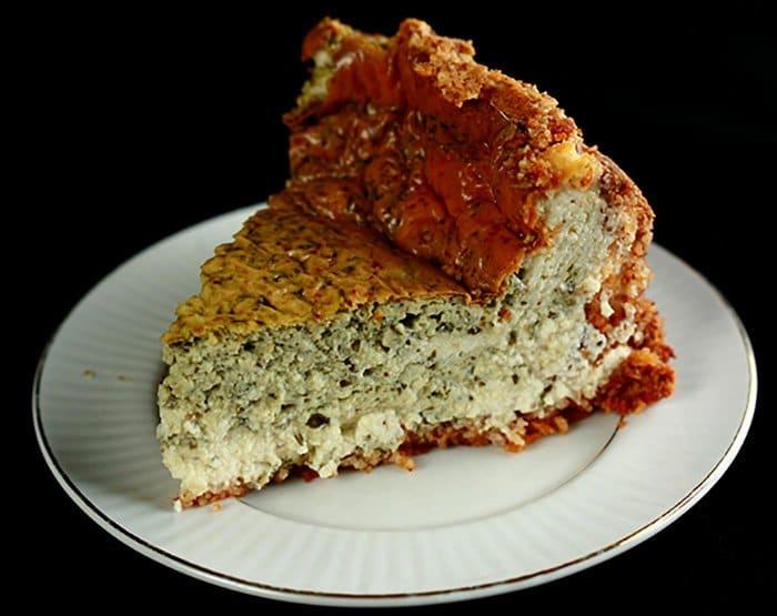Savory Marbled Basil Cheesecake