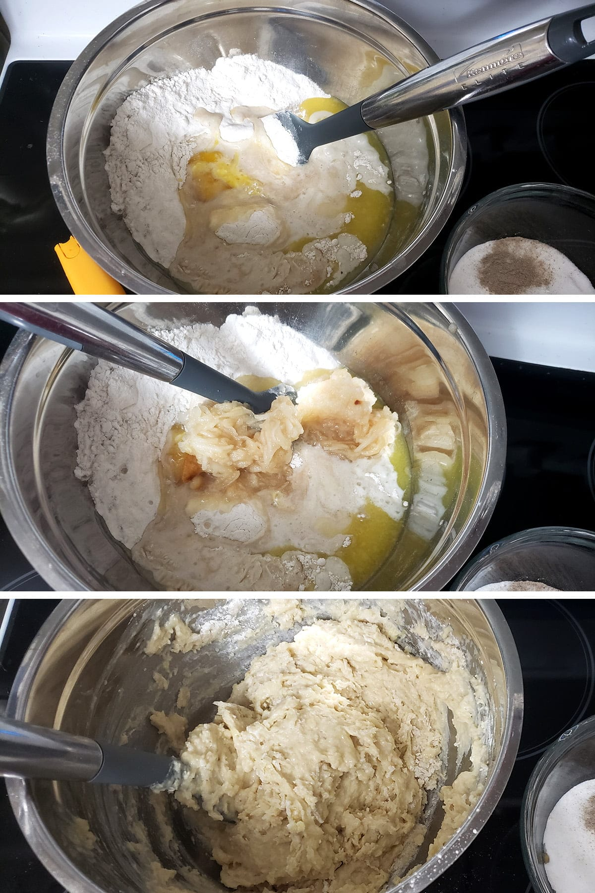 A 3 part compilation image showing the wet ingredients being added to the dry and being mixed in to form the batter.