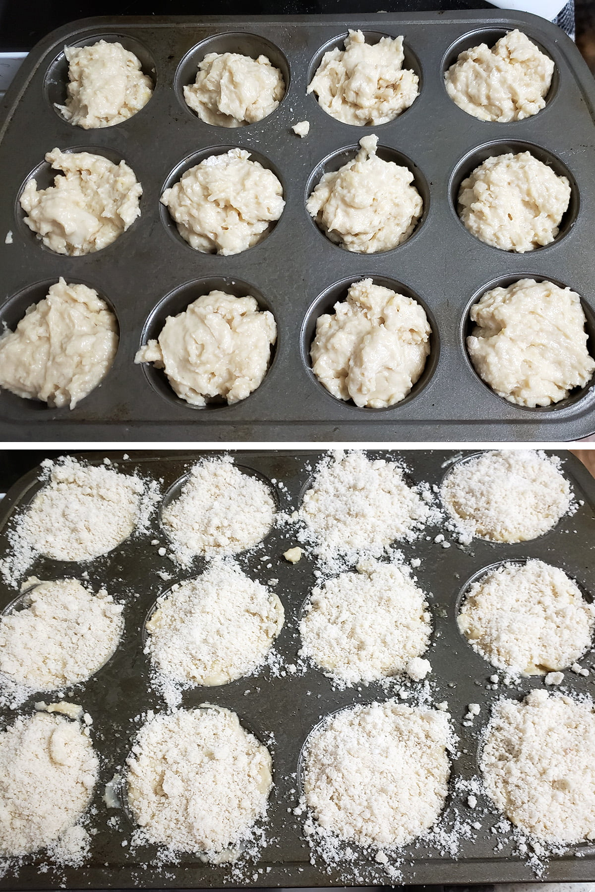 A two part compilation image showing the batter in the muffin pan, and then the raw muffins being topped with streusel mixture.