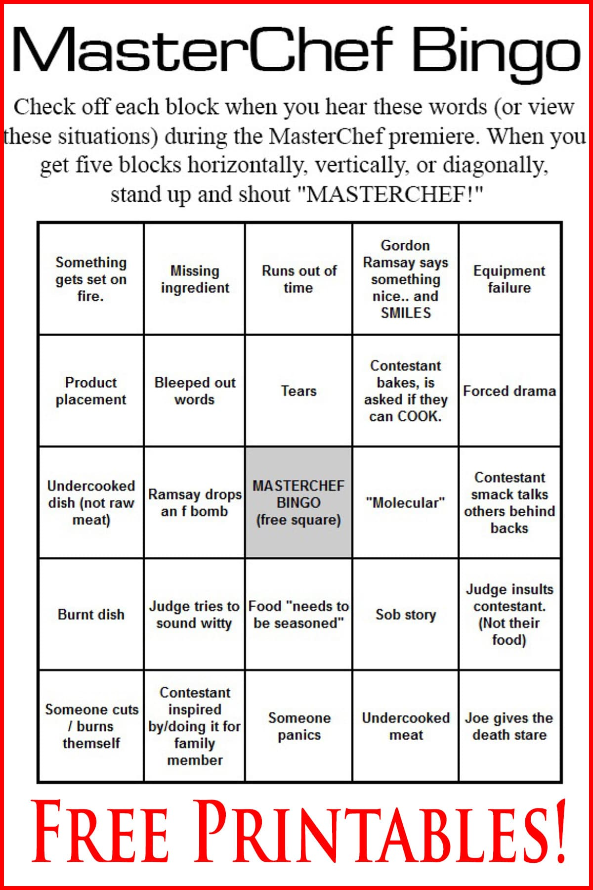 A bingo card, labelled Masterchef Bingo. All of the spaces are filled with things you may see happen on the show.
