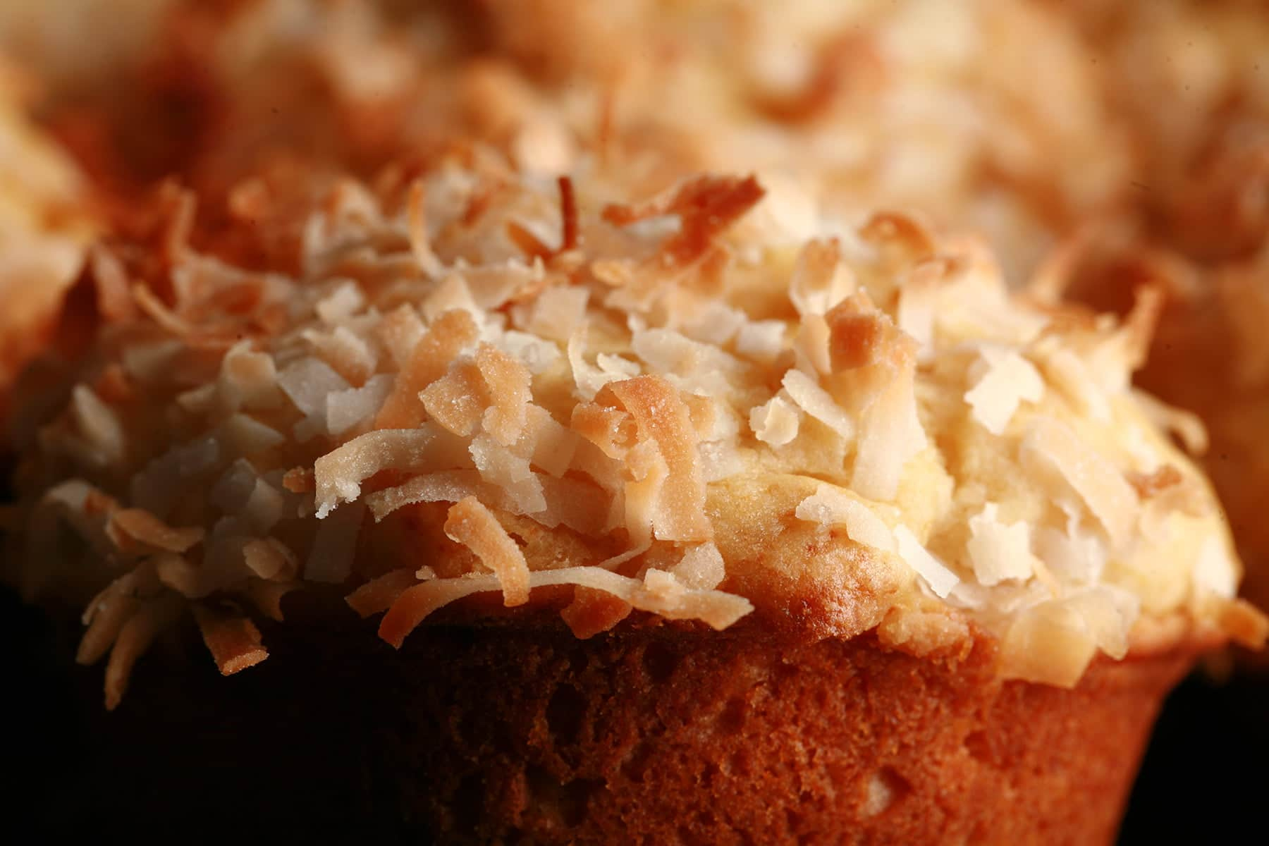 A close up view of a pina colada muffin. Toasted coconut covers the top of it.