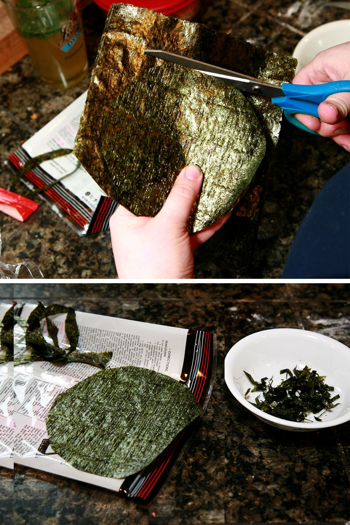 A two part image showing sheets of nori being cut into circles.