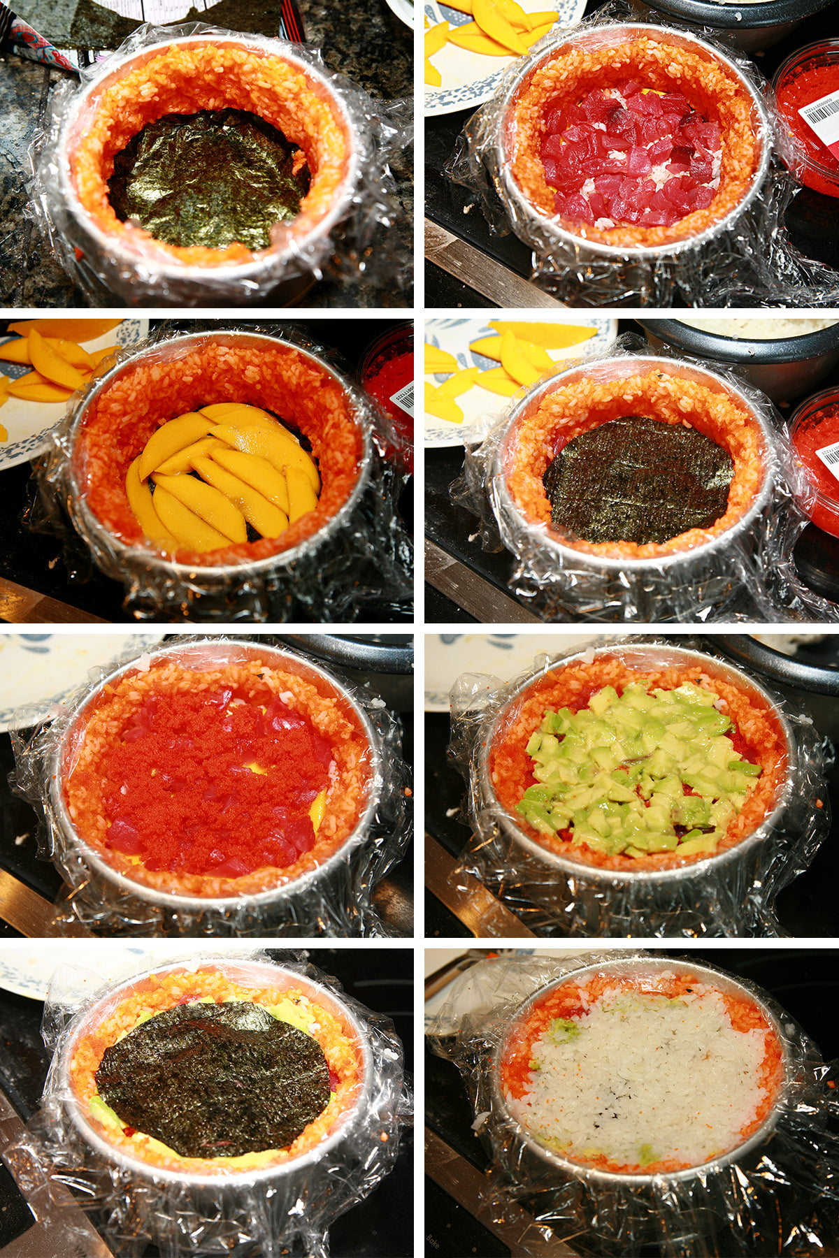 An 8 part compilation image, showing layers of fillings being added. White rice, tuna, mango, circles of nori, etc, one at a time.