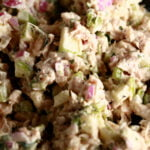 A close up view of tarragon chicken salad.