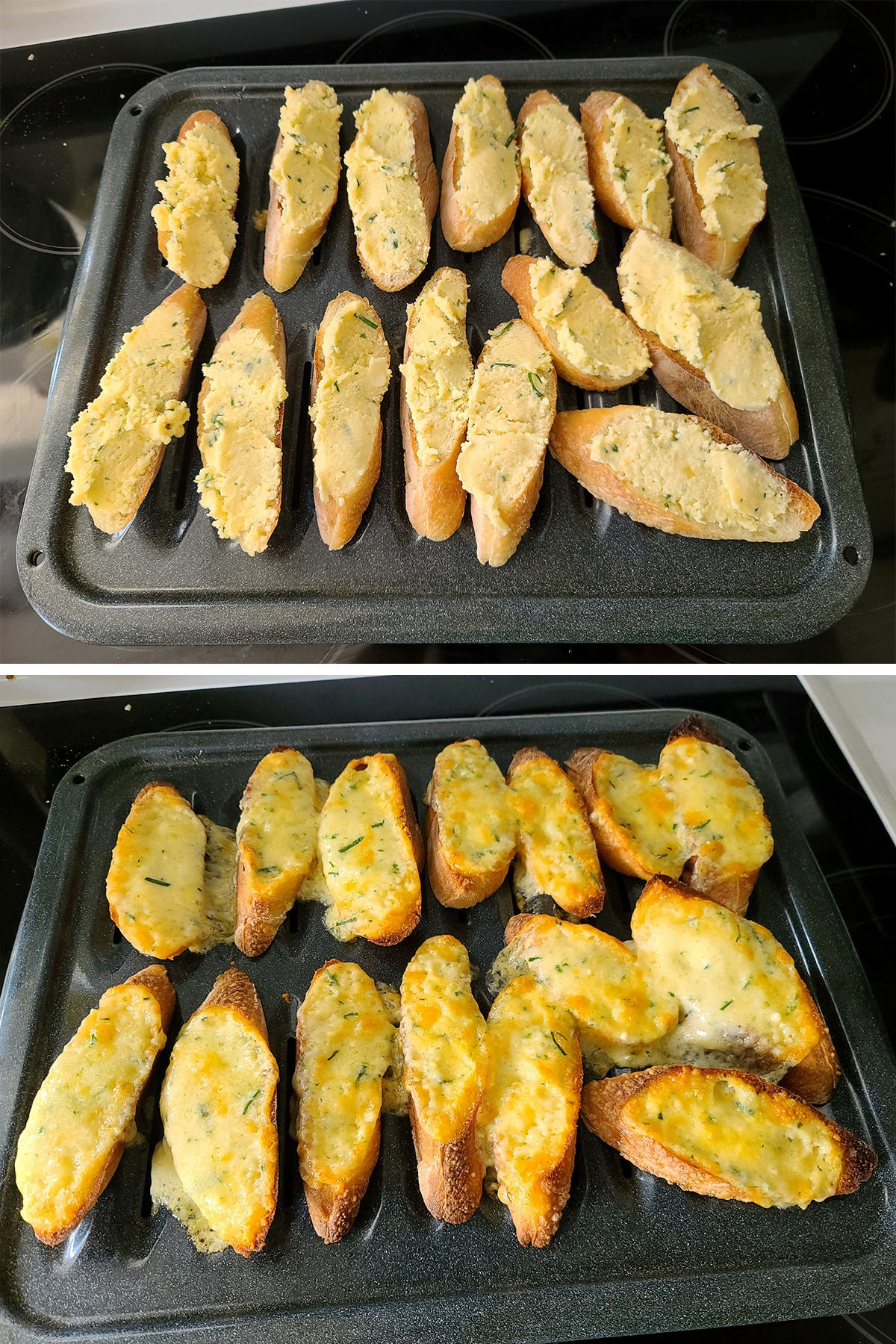 Slices of baguette on a broiling pan, before and after being broiled.