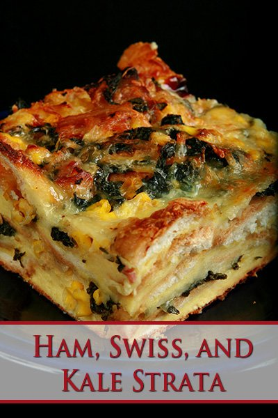 Ham, Swiss, and Kale Strata