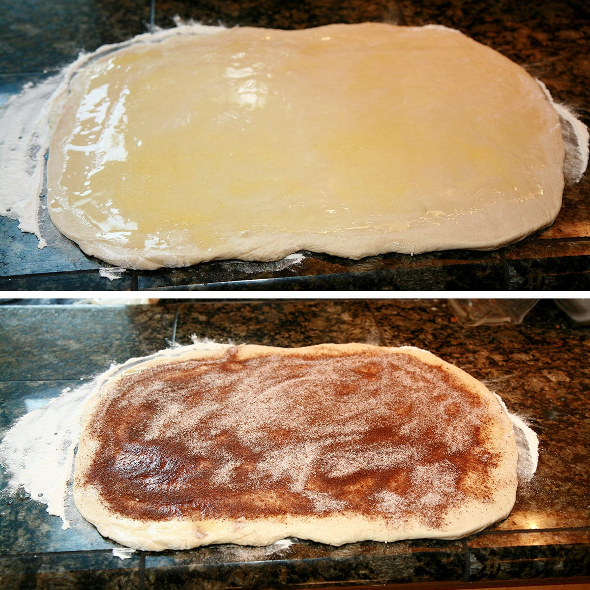 A two part compilation image showing a rectangle of dough with melted butter spread over it, and then the same dough with a chai seasoned sugar mixture spread over it.