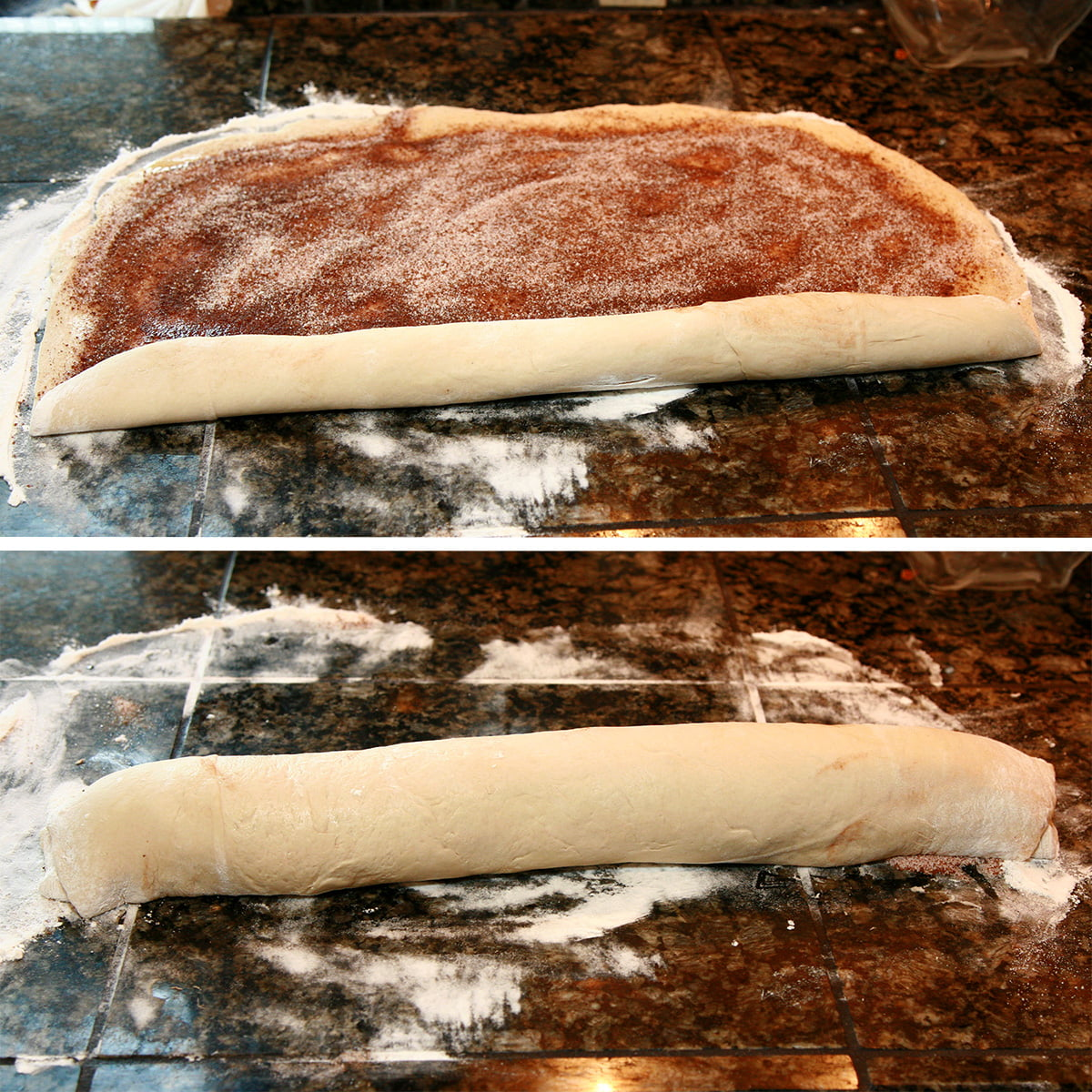 A two part compilation image showing the dough being rolled up.