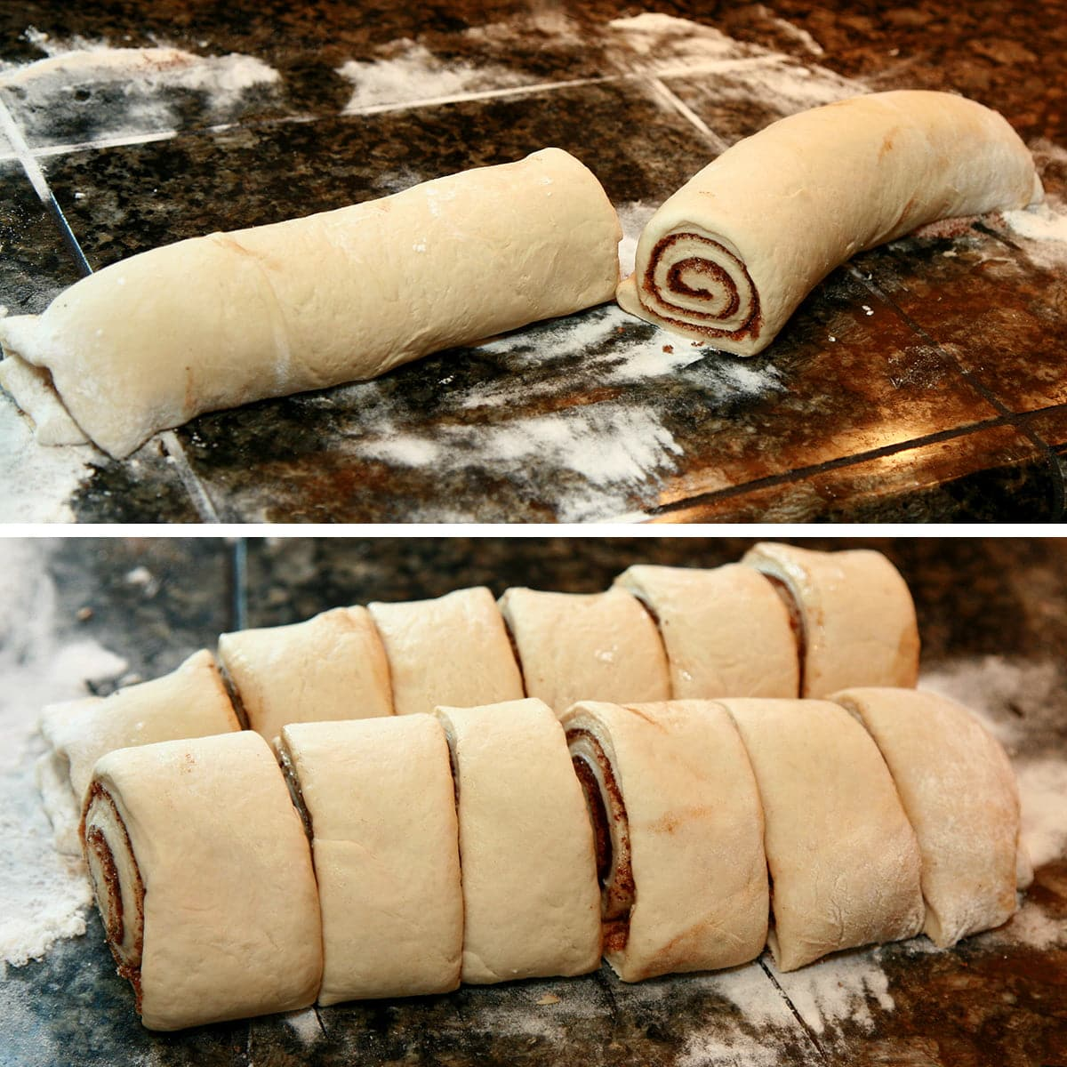 A two part compilation image showing the roll of chai cinnamon buns cut in half, then cut into a total of 12 buns.