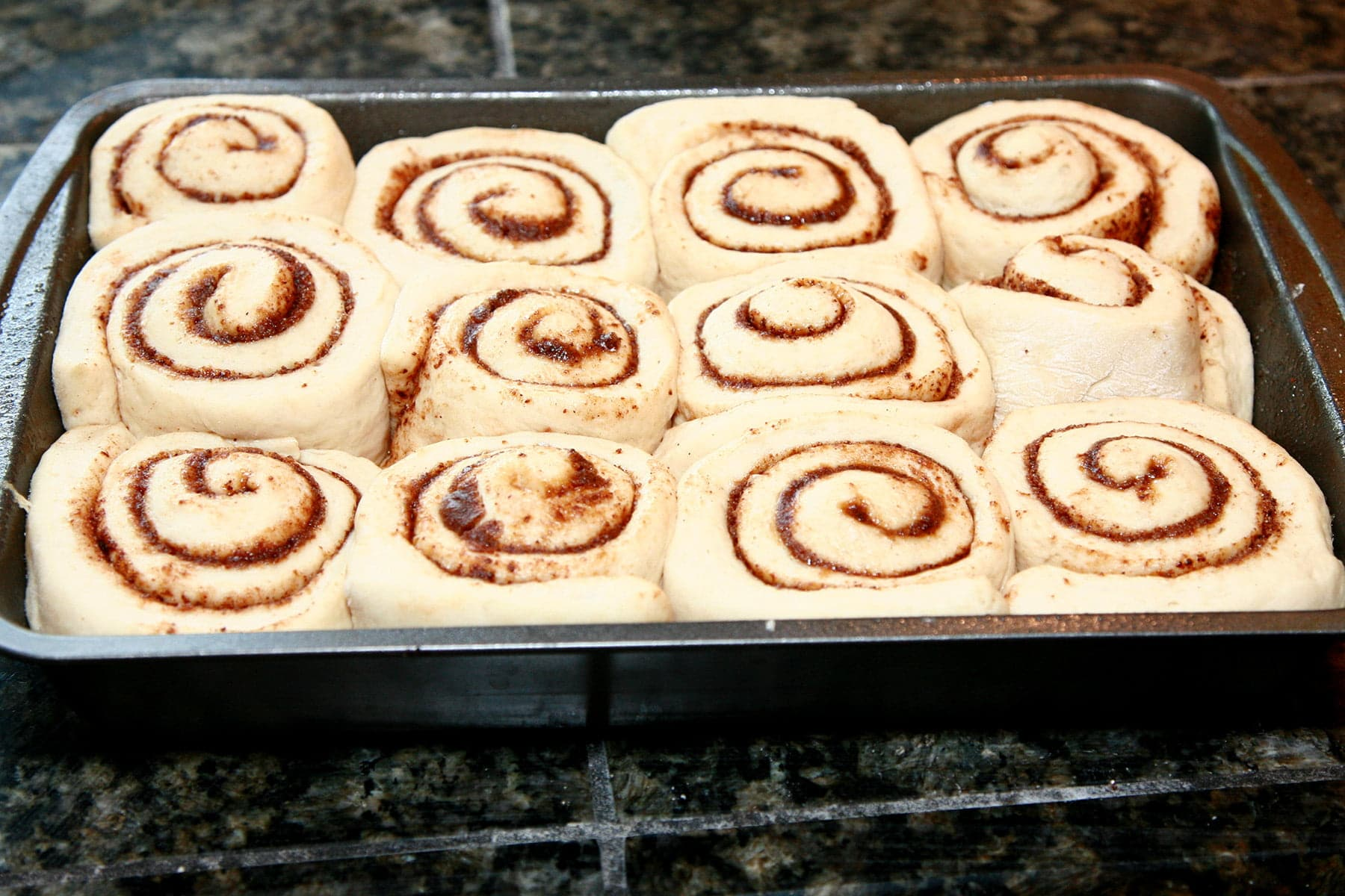 12 unbaked chai cinnamon rolls resting in a pan, after the final rise. They are now puffy and squishing up against each other.