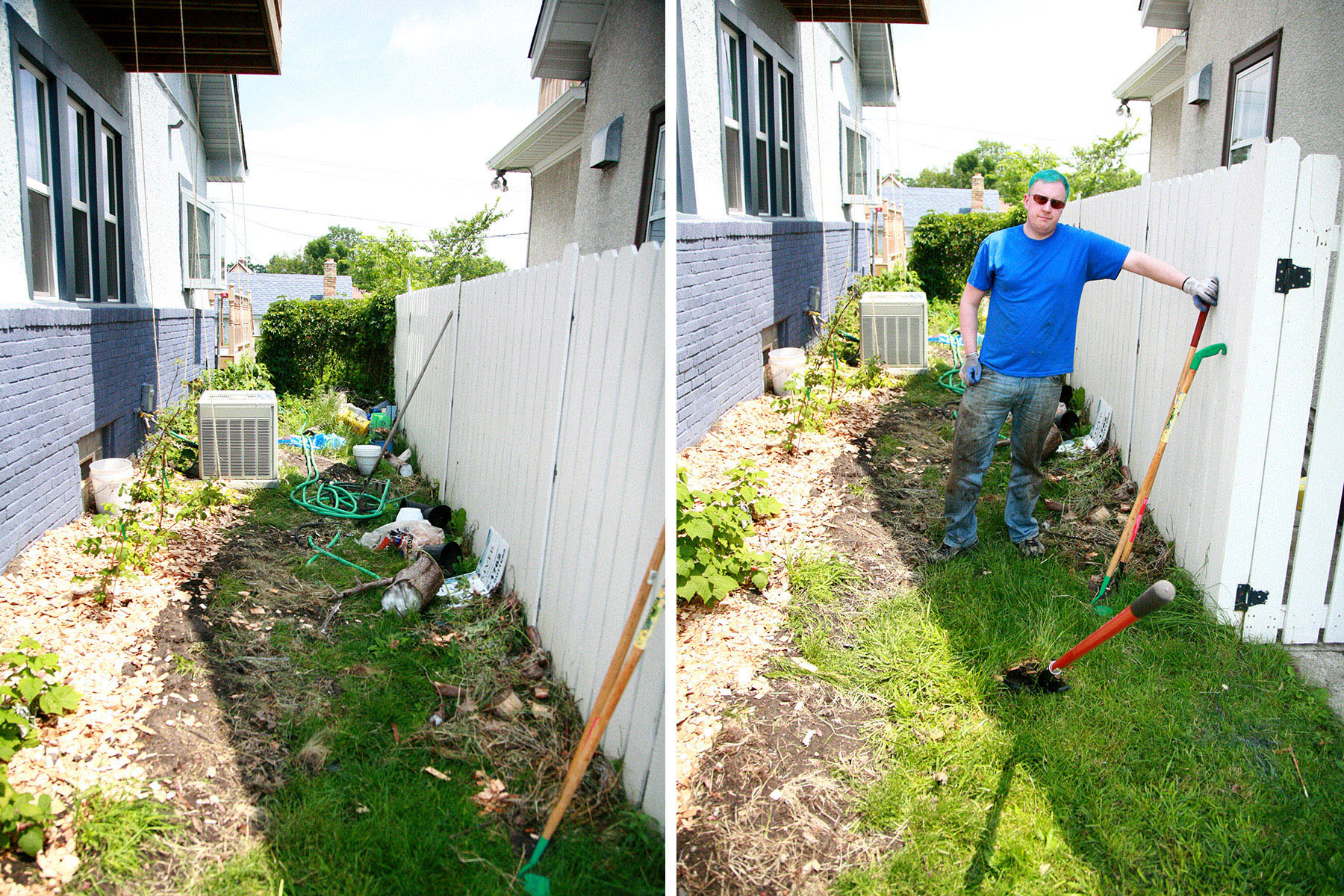 A man with a garden hoe is cleaning up the tornado debris.