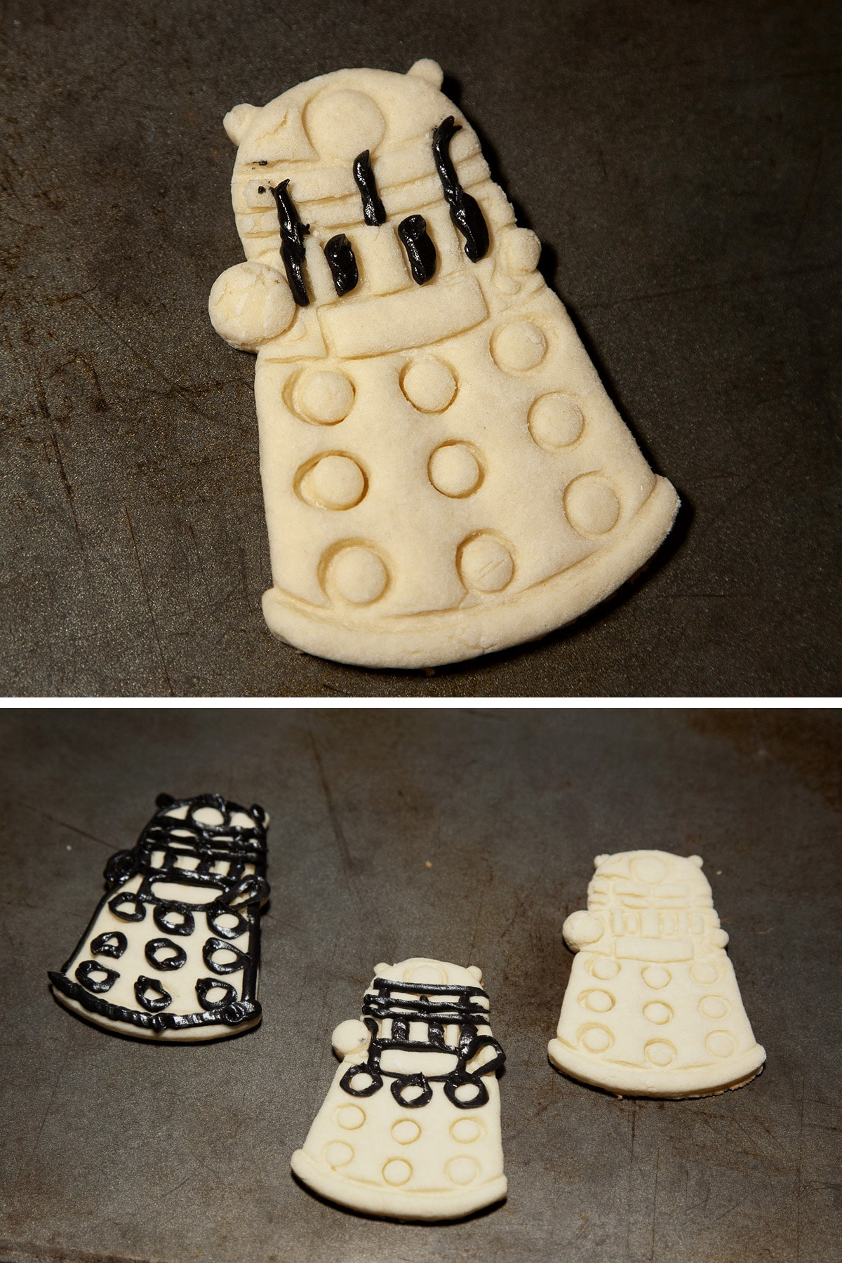 A Dalek shaped sugar cookie with some black frosting outlines started.